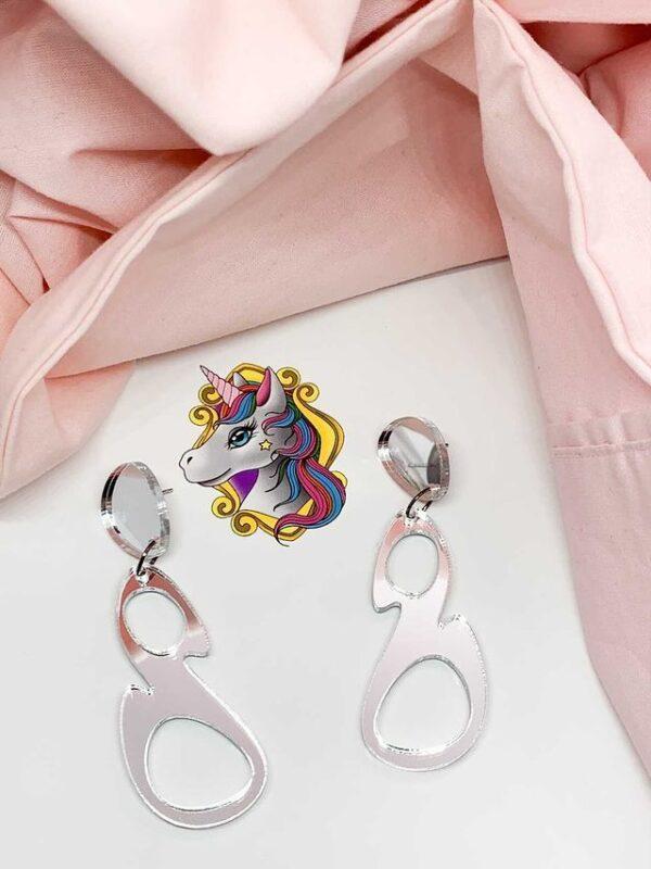 Esmay Dangles Silver Mirror by Unicorn Dreaming Unicorn Dreaming (Fitzroy)