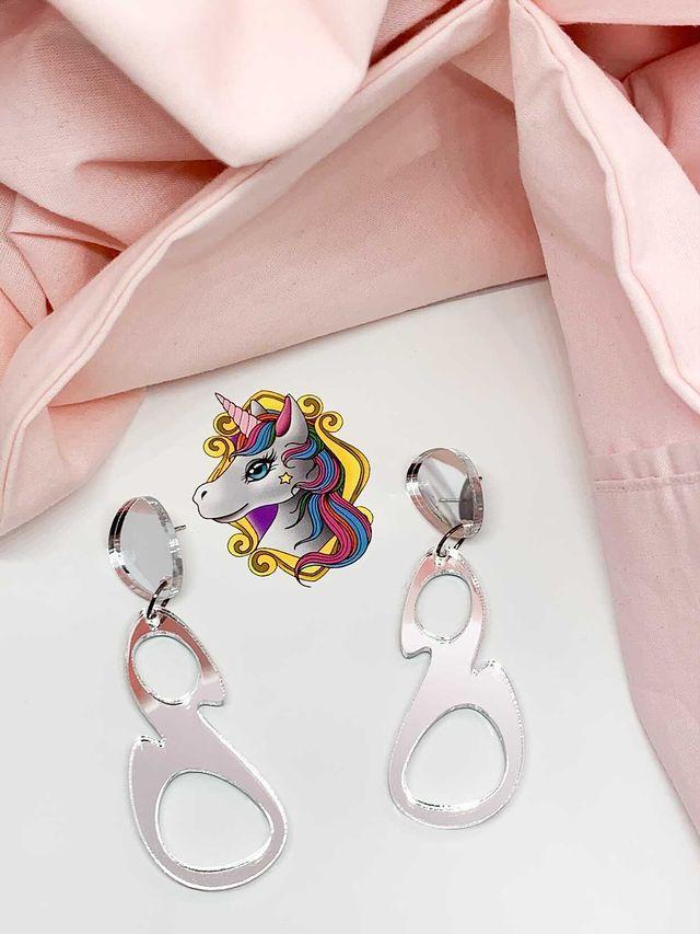 Esmay Dangles Silver Mirror By Unicorn Dreaming