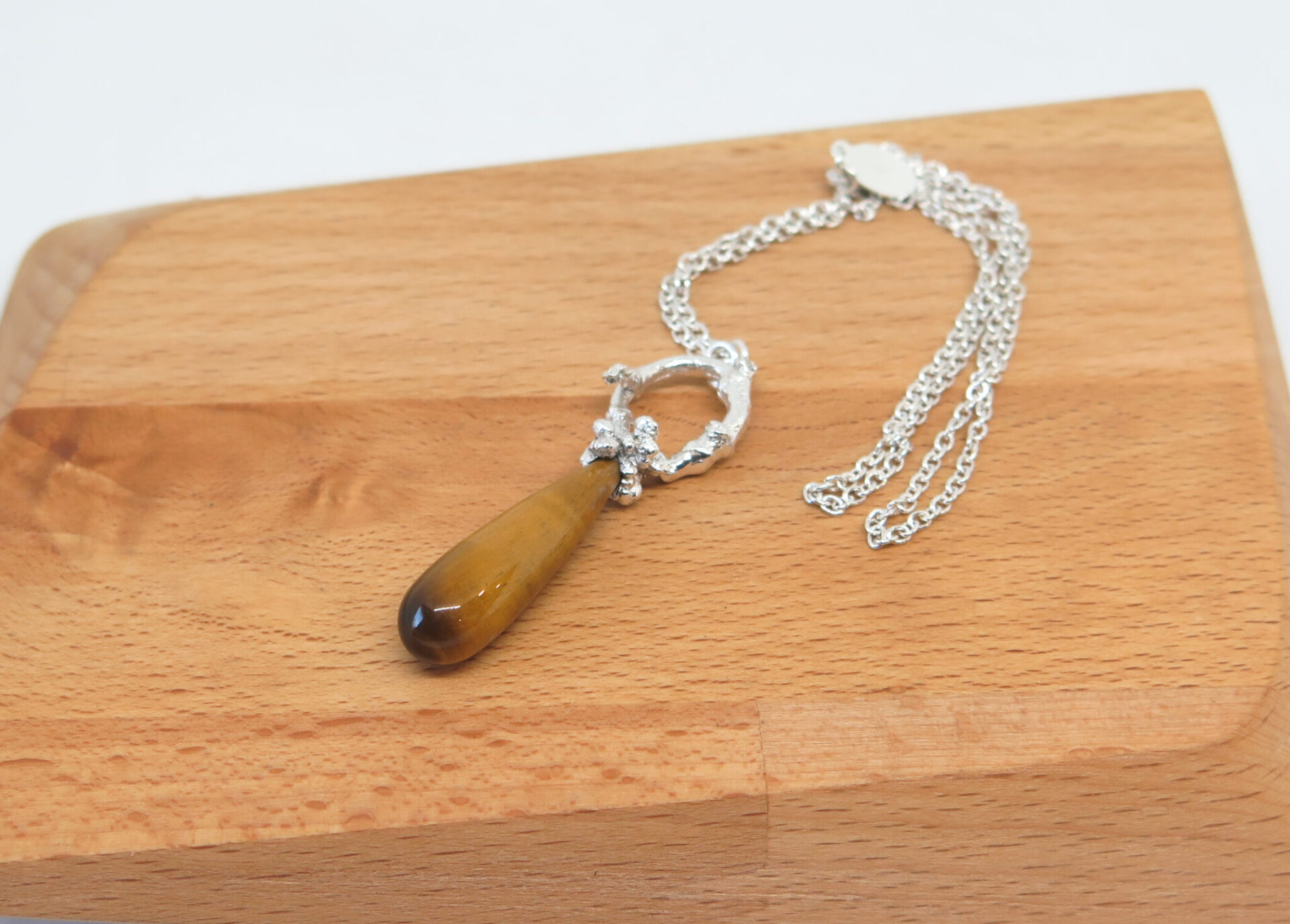 Tigers Eye Sterling Silver Necklace By GermanoArts