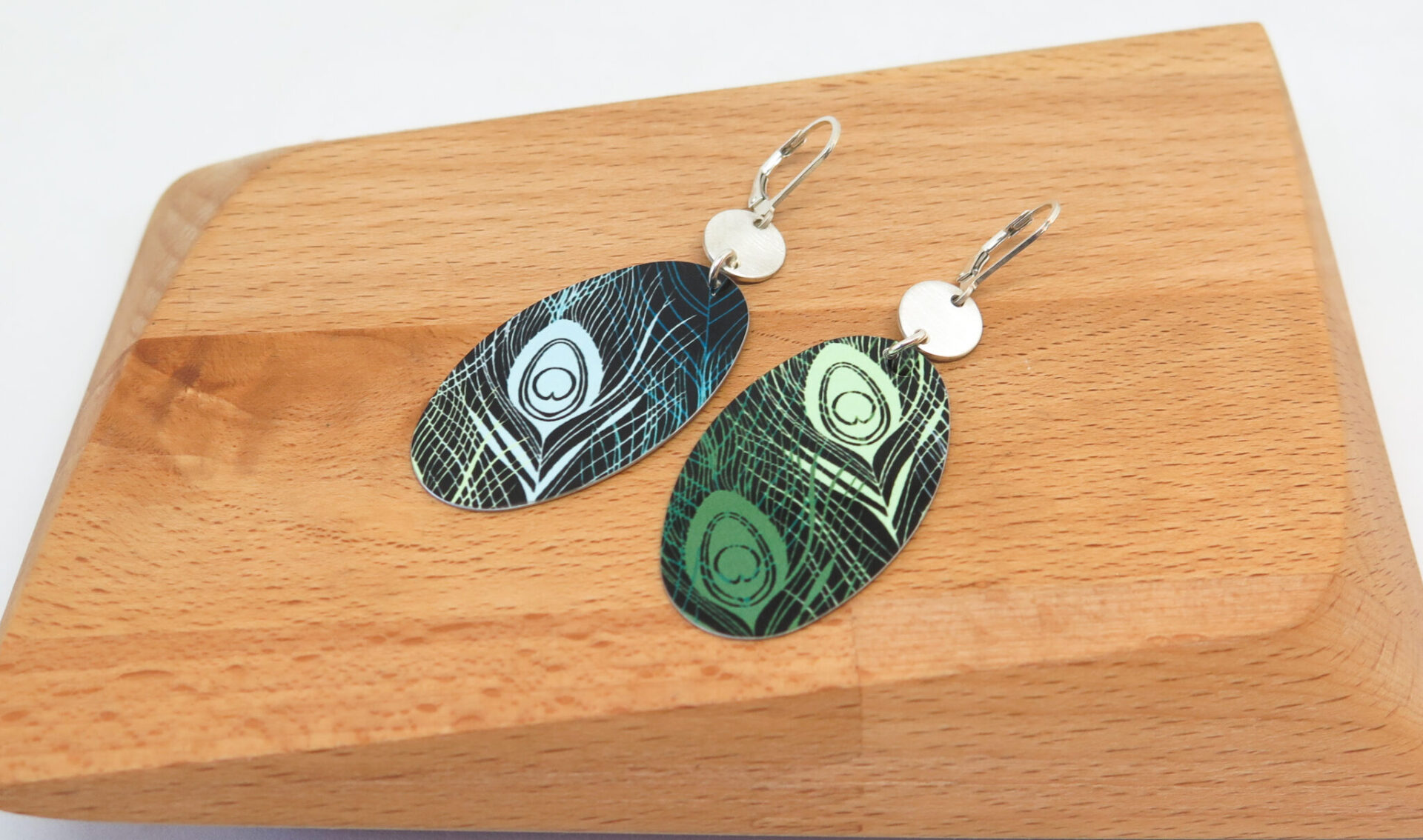 Peacock Feather Dye Sublimation Earrings By GermanoArts