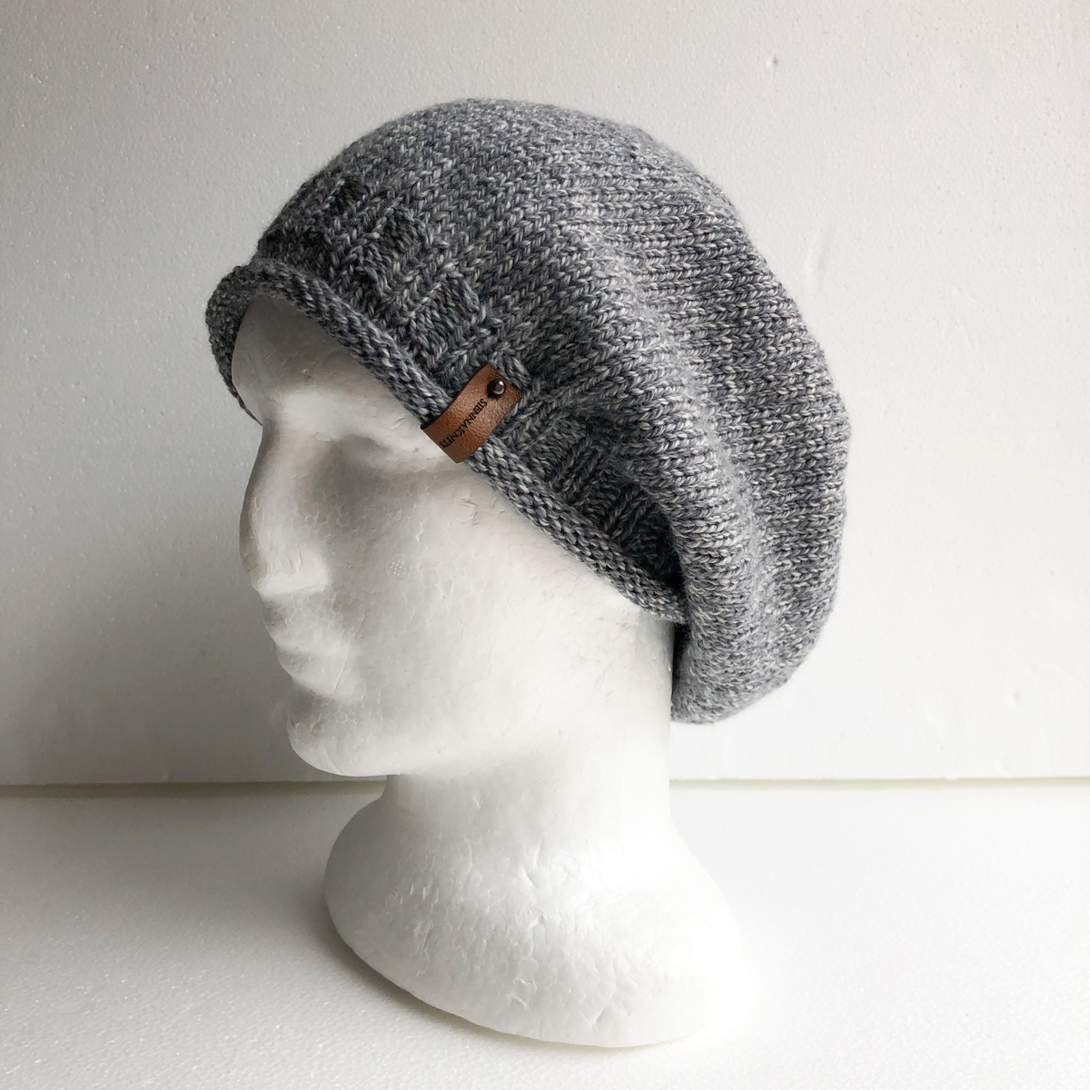 100% Wool Grey And White Knit Women Slouchy Beanie With Roll Up Brim By SiennaKnits