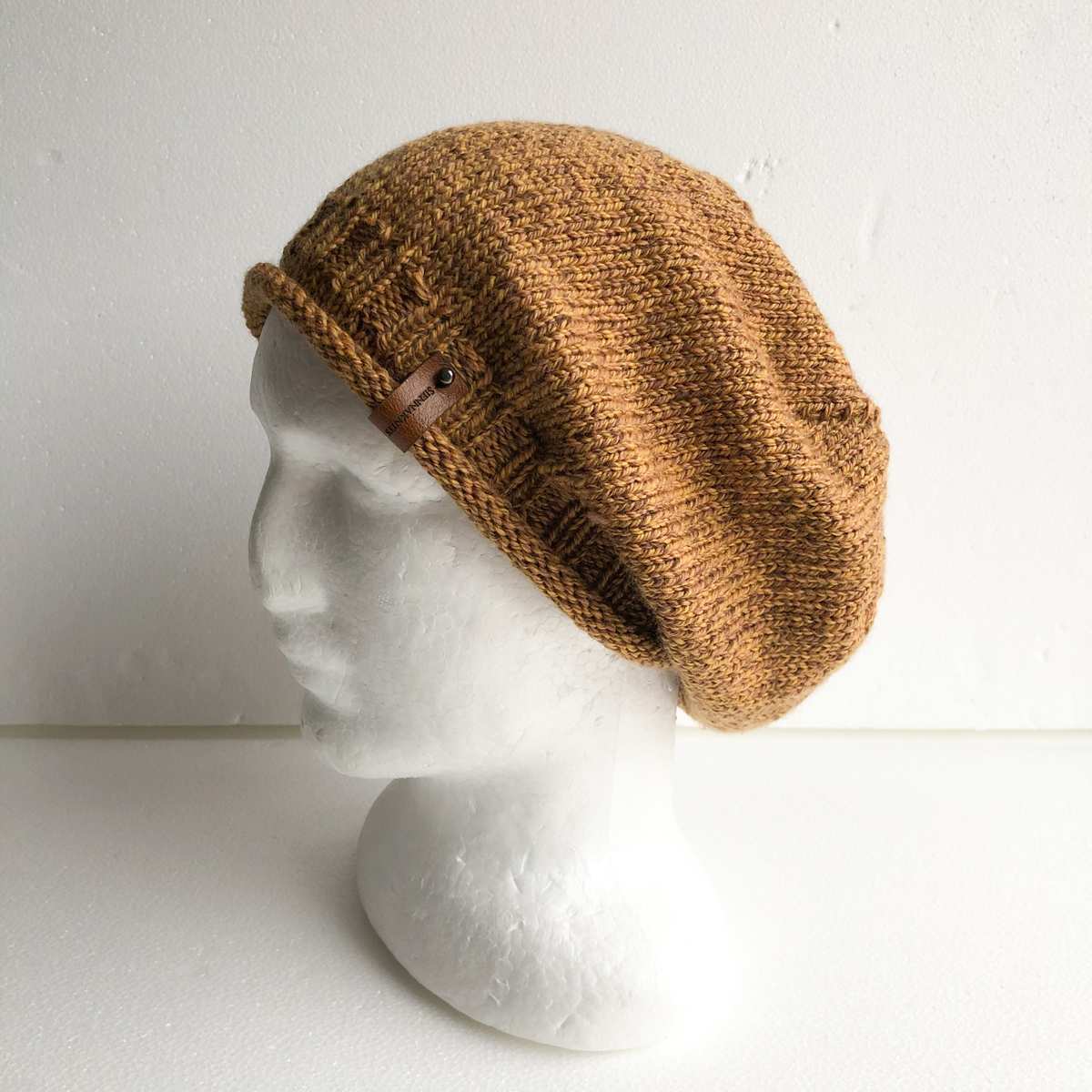 100% Wool Mustard And Brown Knit Women Slouchy Beanie With Roll Up Brim By SiennaKnits