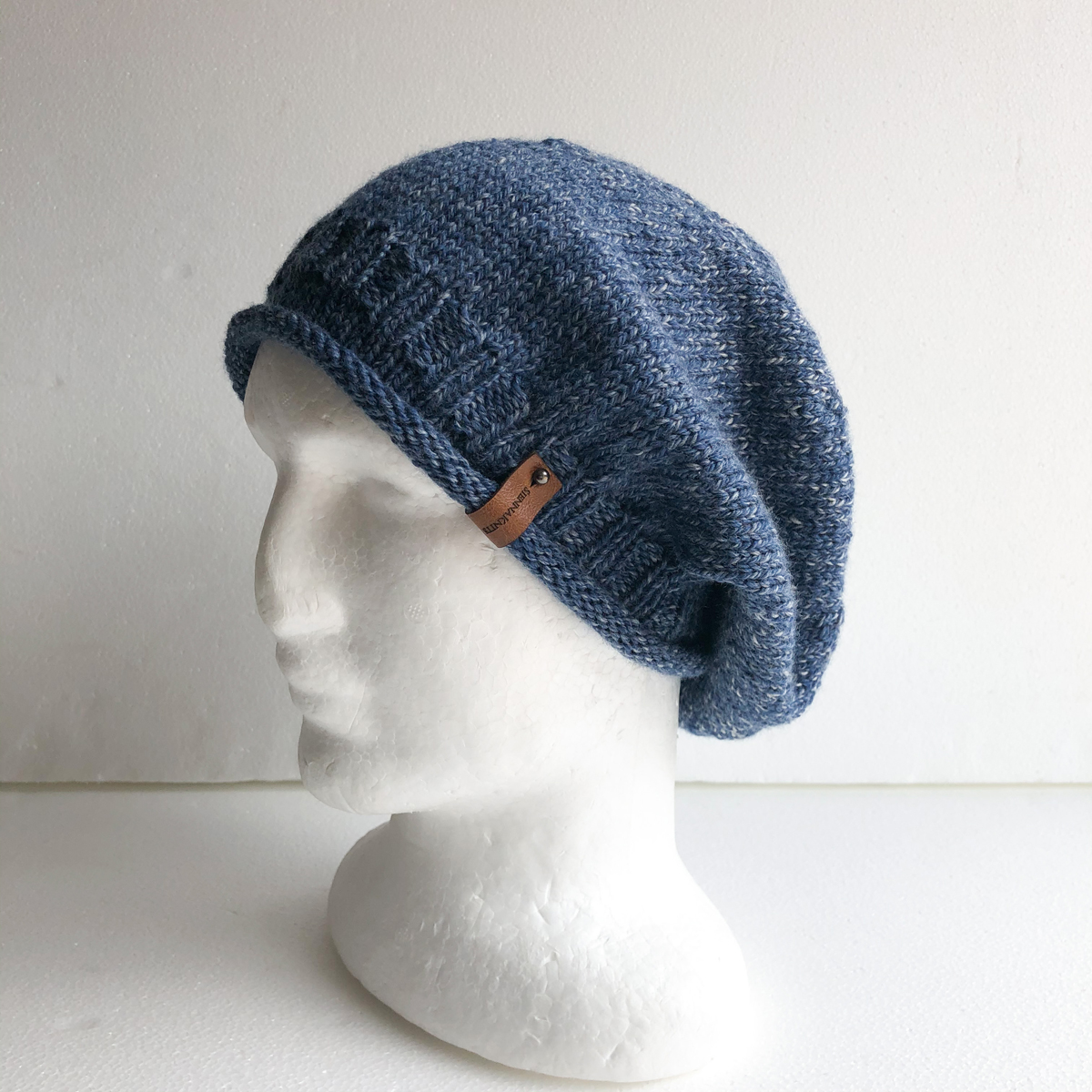 100% Wool Blue And White Knit Women Slouchy Beanie With Roll Up Brim By SiennaKnits