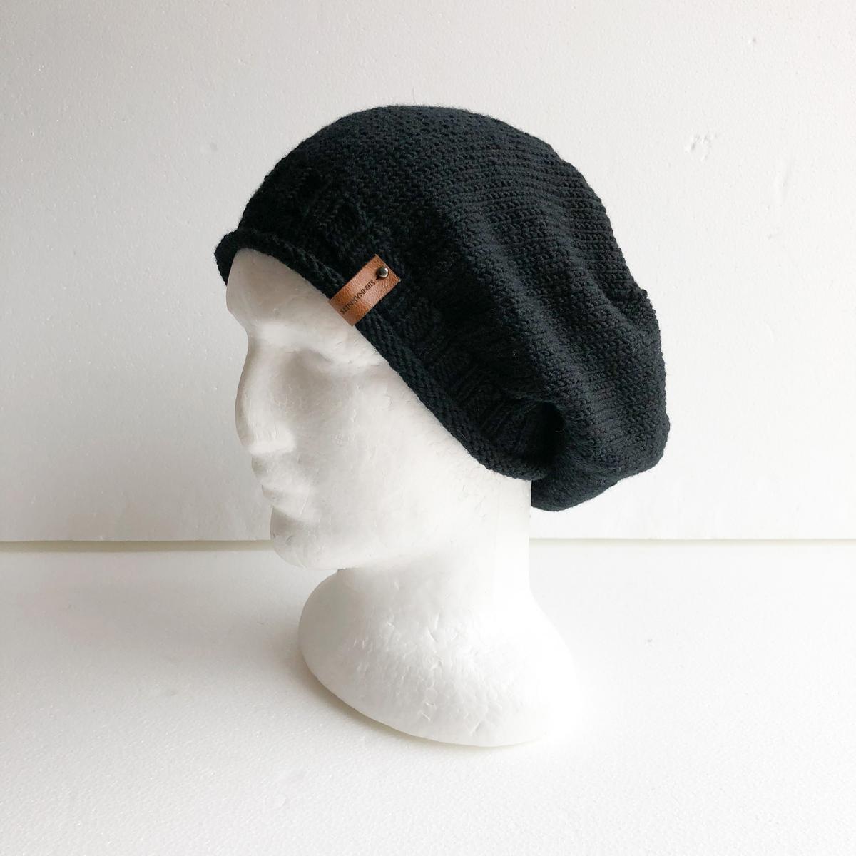 100% Merino Wool Black Knit Women Slouchy Beanie With Roll Up Brim By SiennaKnits
