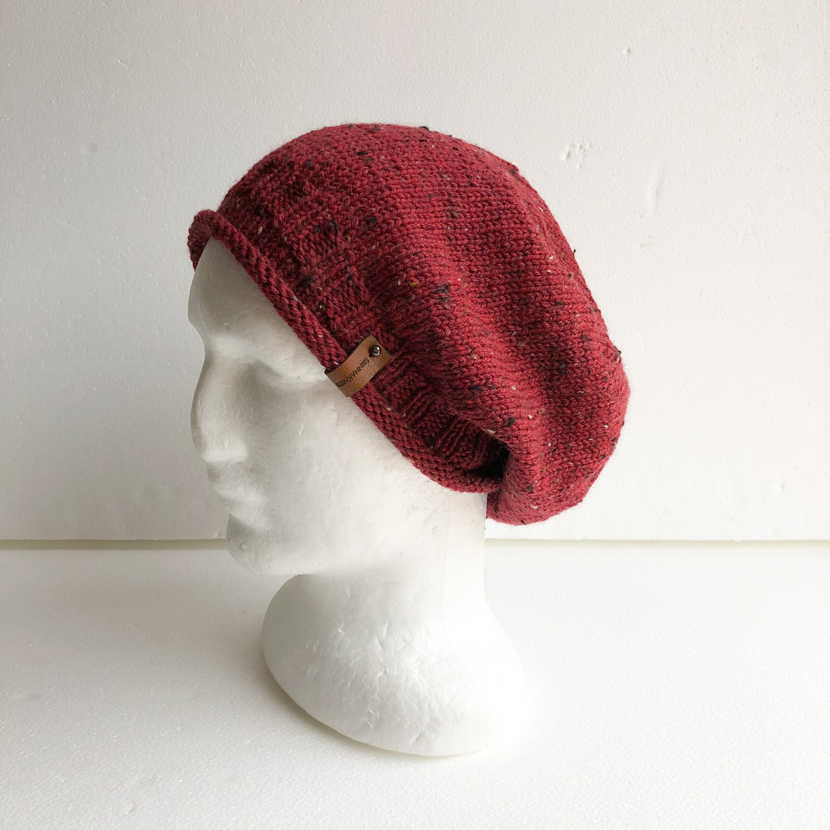 Speckled Red Knit Women Slouchy Beanie With Roll Up Brim By SiennaKnits