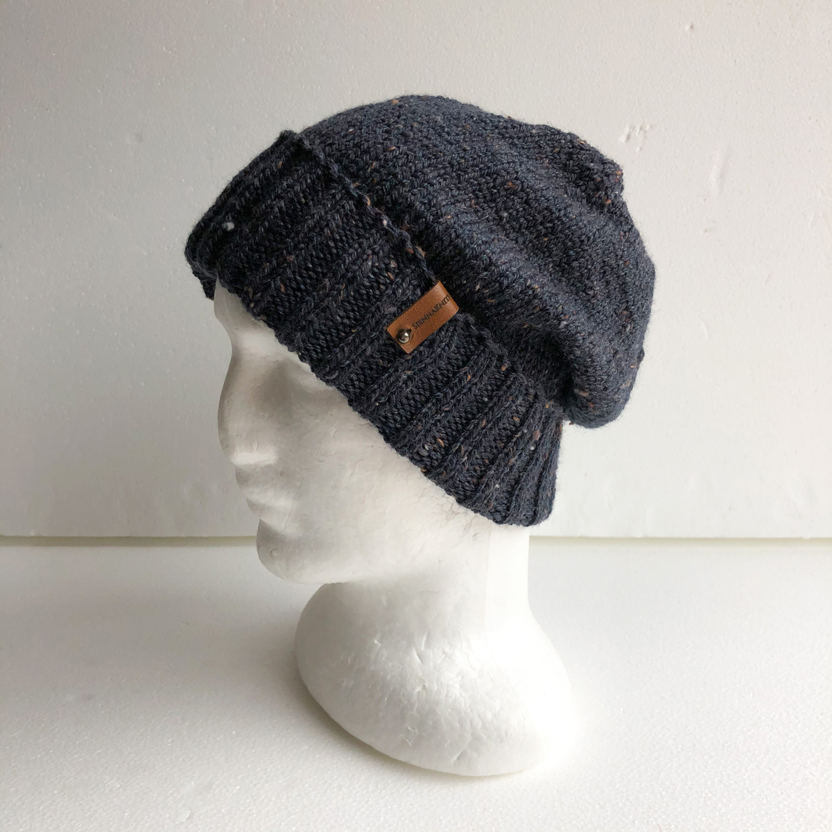 Men Speckled Ink Wool Knit Beanie With Foldable Brim By SiennaKnits