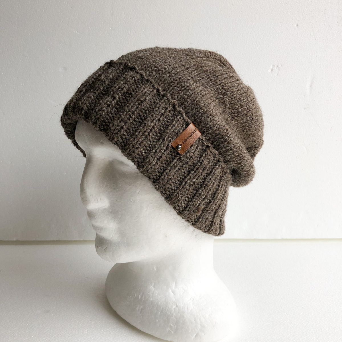 100% Wool Men Brown Knit Beanie With Foldable Brim By SiennaKnits