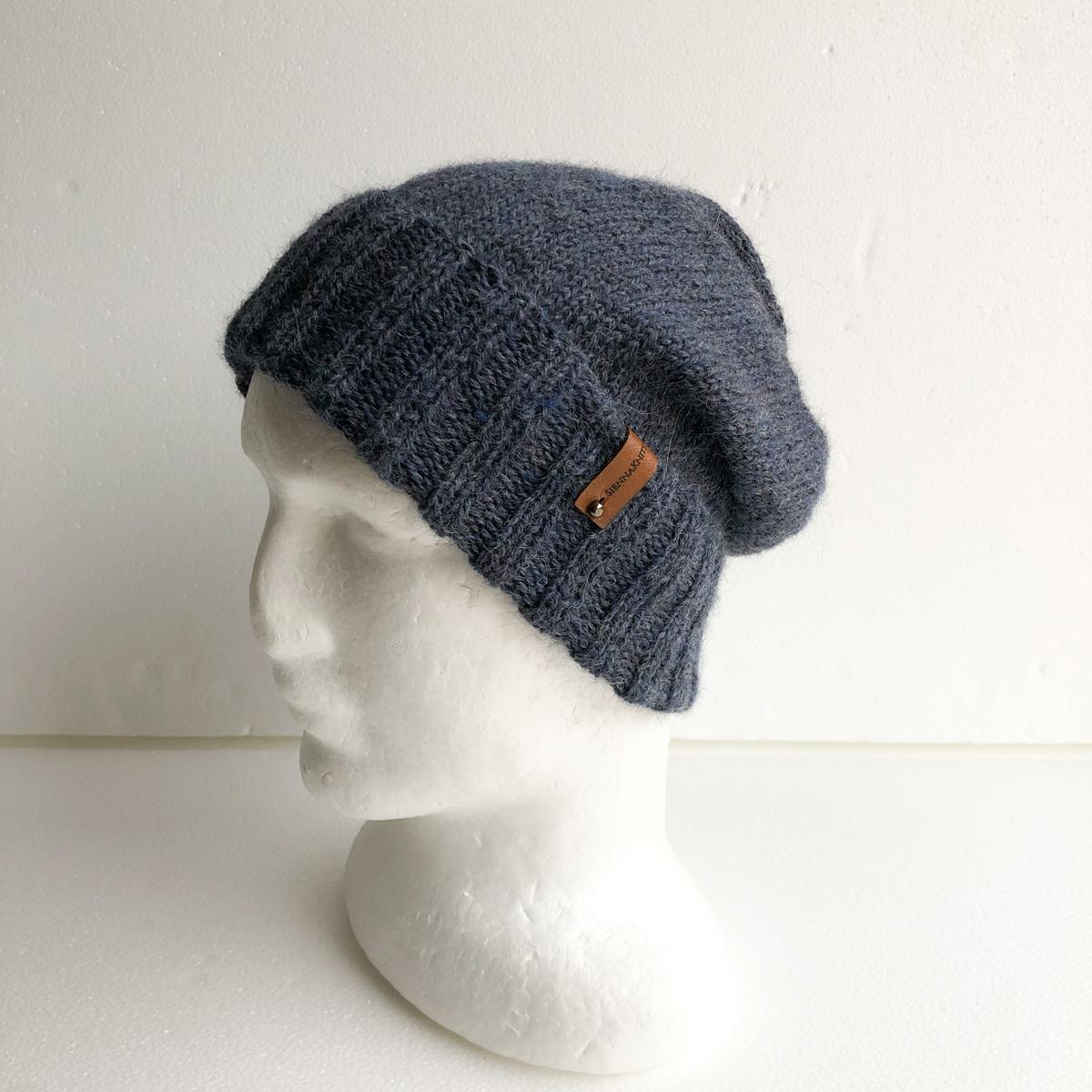 100% Alpaca Blue-Grey Knit Unisex Beanie With Foldable Brim By SiennaKnits