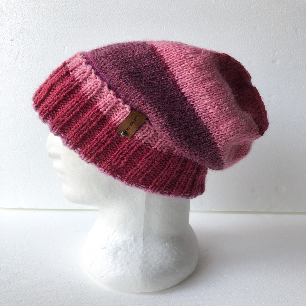100% Wool Knit Beanie For Women Pink+Purple With Foldable Brim By SiennaKnits