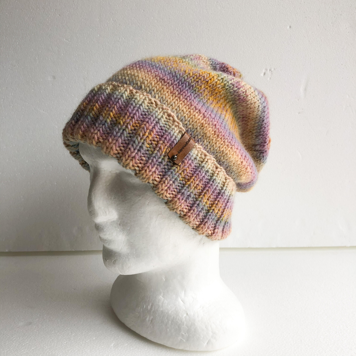 100% Wool Knit Beanie For Women-Pastel Colours With Foldable Brim By SiennaKnits