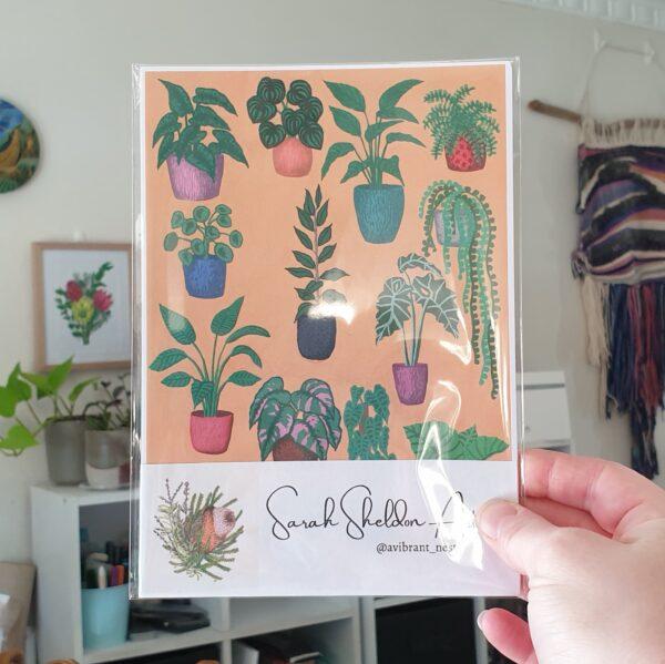 variety-potted-plants-mustard-a5-art-print-botanical-collection-sarah-sheldon-art-by-a-vibrant-nest-by-avibrantnest