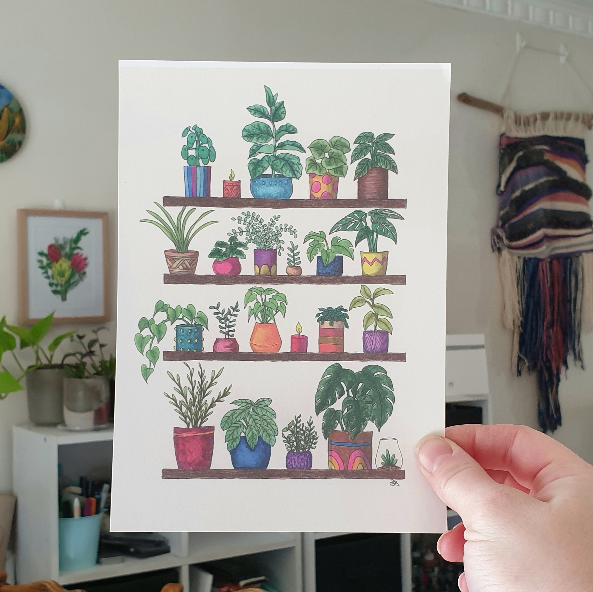 'Plant Shelfie 3' A4 Art Print Botanical Collection Sarah Sheldon Art By A Vibrant Nest