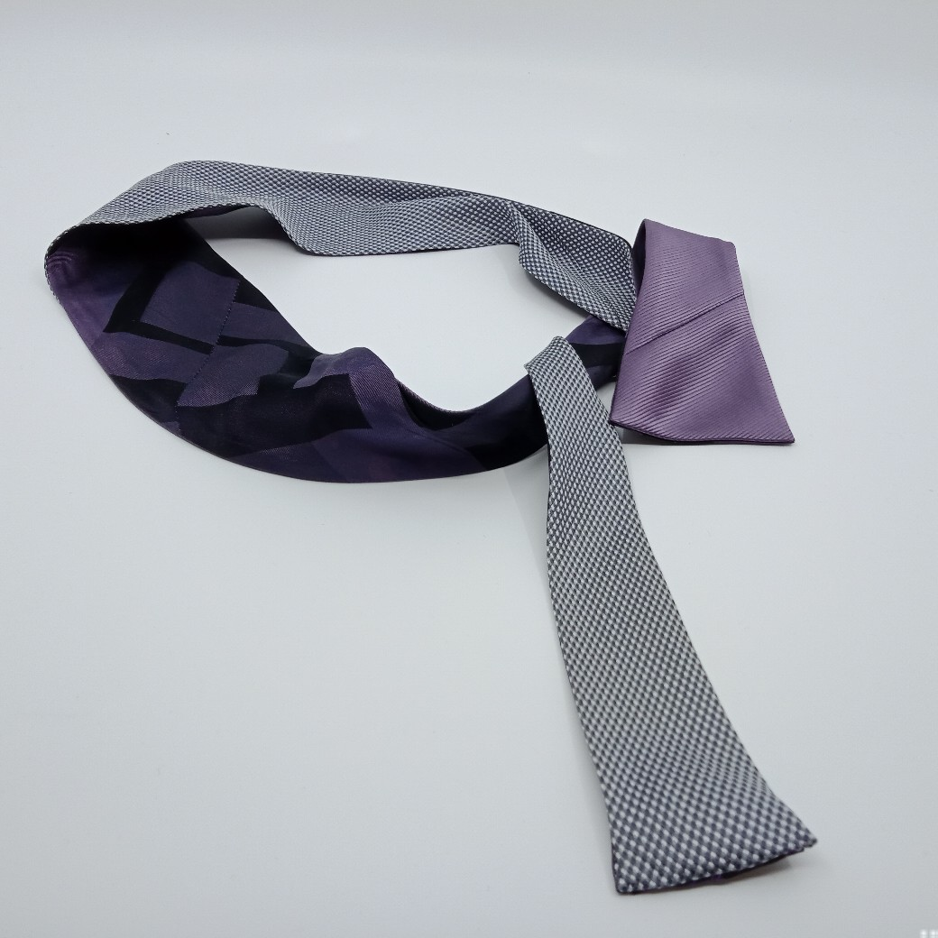 Moody Mauve And Grey Silk Reversible Headband By Judith Scott Upcycling