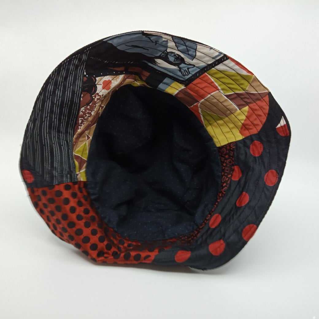 Colourful Silk And Denim Reversible Bucket Hat By Judith Scott Upcycling