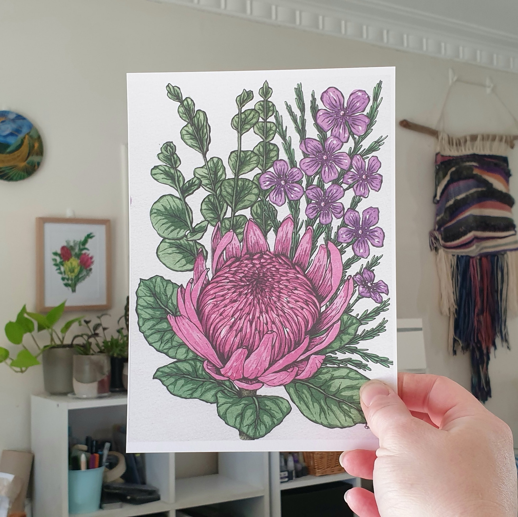 'Protea, Eucalyptus And Wax Flower' A4 Art Print Botanical Collection Sarah Sheldon Art By A Vibrant Nest