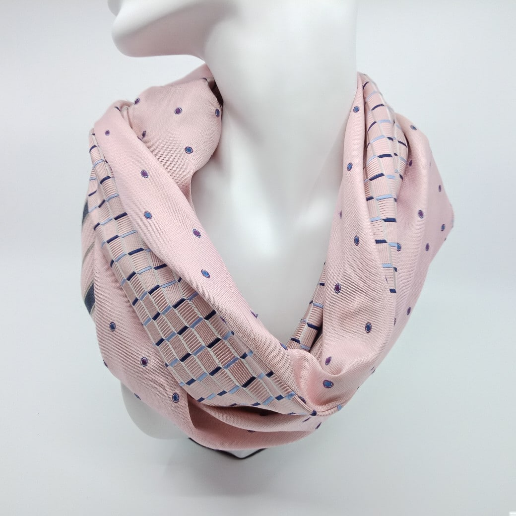 Pale Pink Silk Infinity Scarf By Judith Scott Upcycling