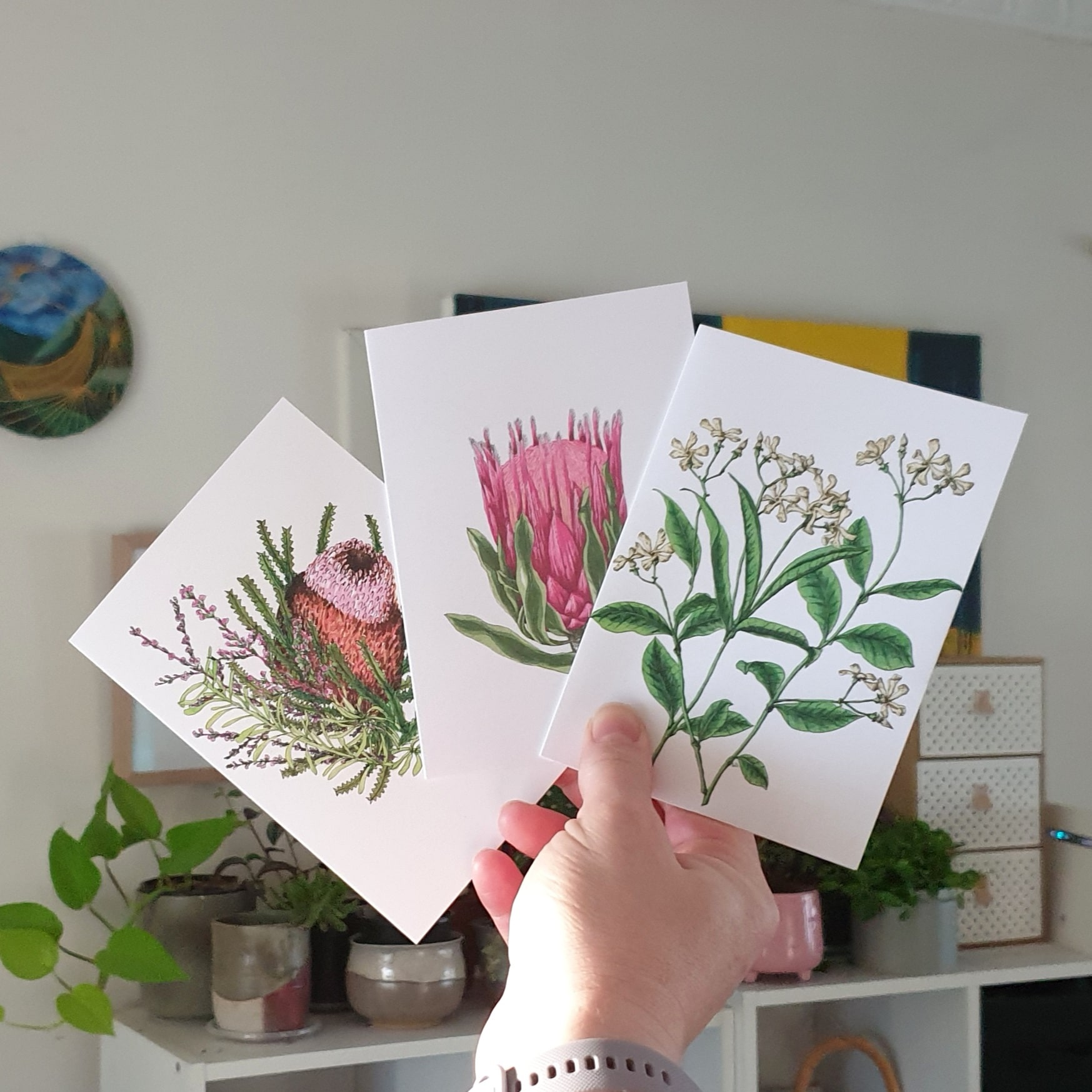 'Flower Mix' Three Card Pack Greeting Cards Botanical Collection Sarah Sheldon Art By A Vibrant Nest