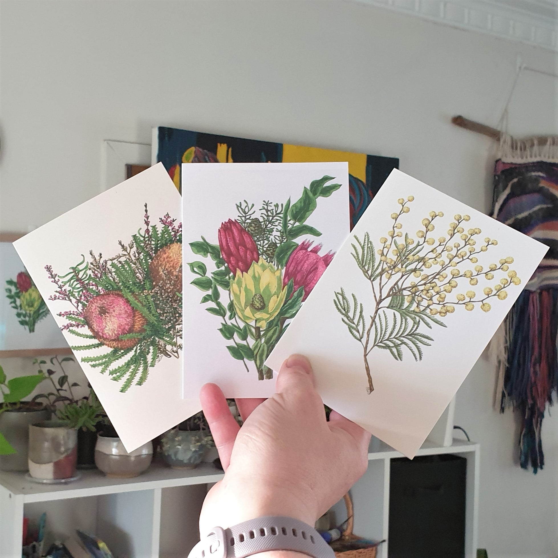 'Aussie Flower 1' Three Card Pack Greeting Cards Botanical Collection Sarah Sheldon Art By A Vibrant Nest