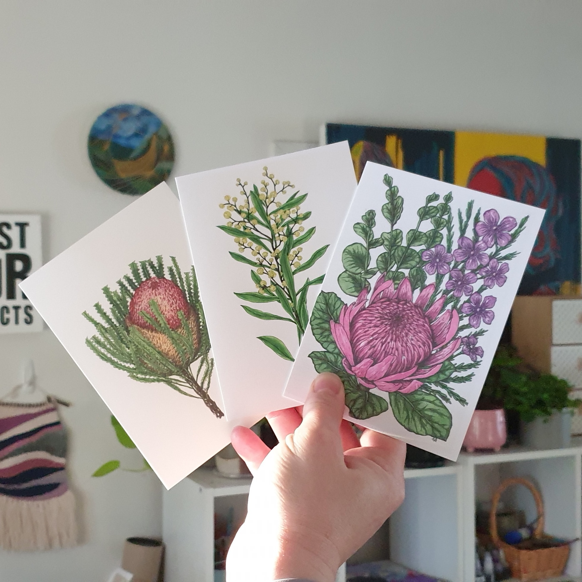 'Aussie Flower 2' Three Card Pack Greeting Cards Botanical Collection Sarah Sheldon Art By A Vibrant Nest