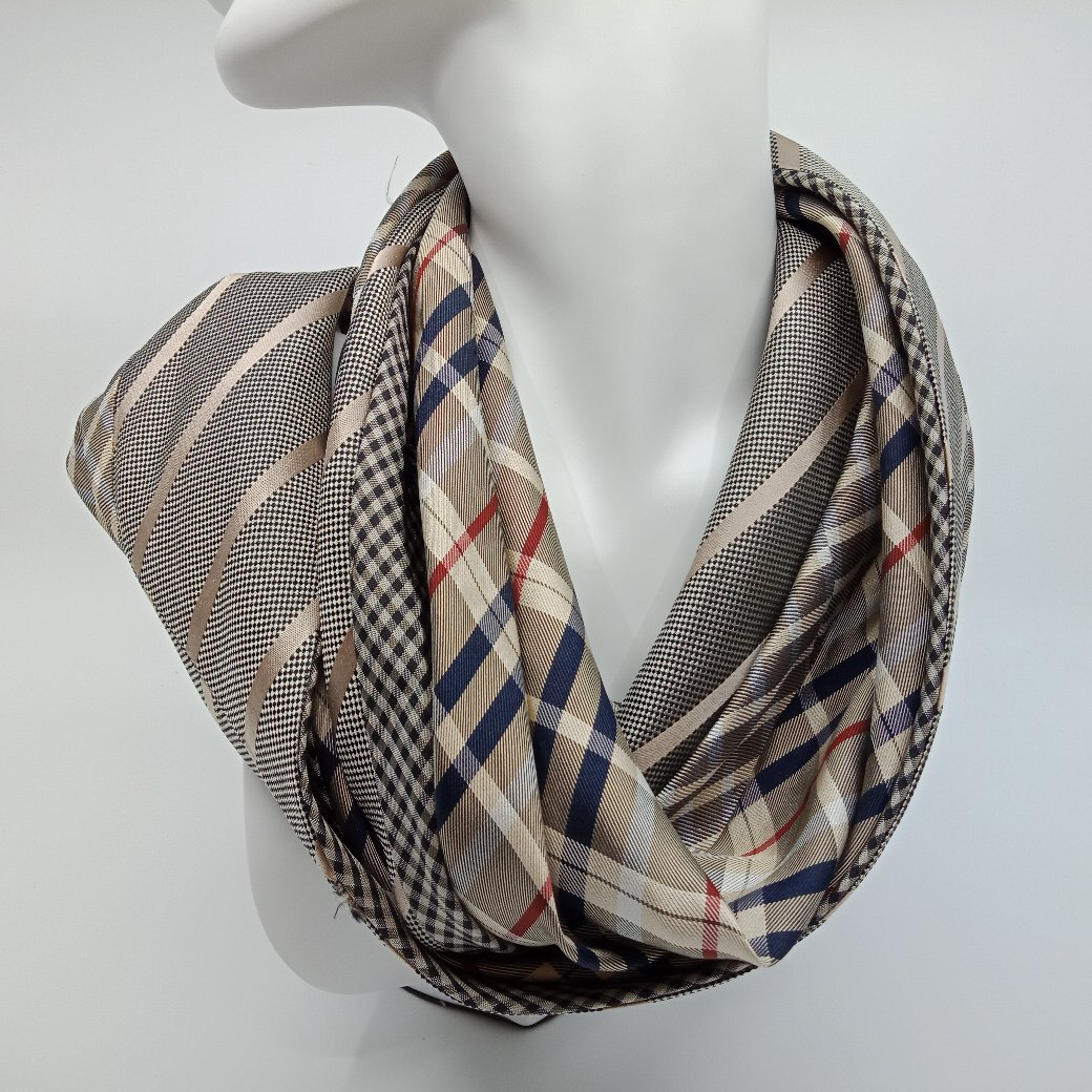 Classic Checked Silk Infinity Scarf By Judith Scott Upcycling