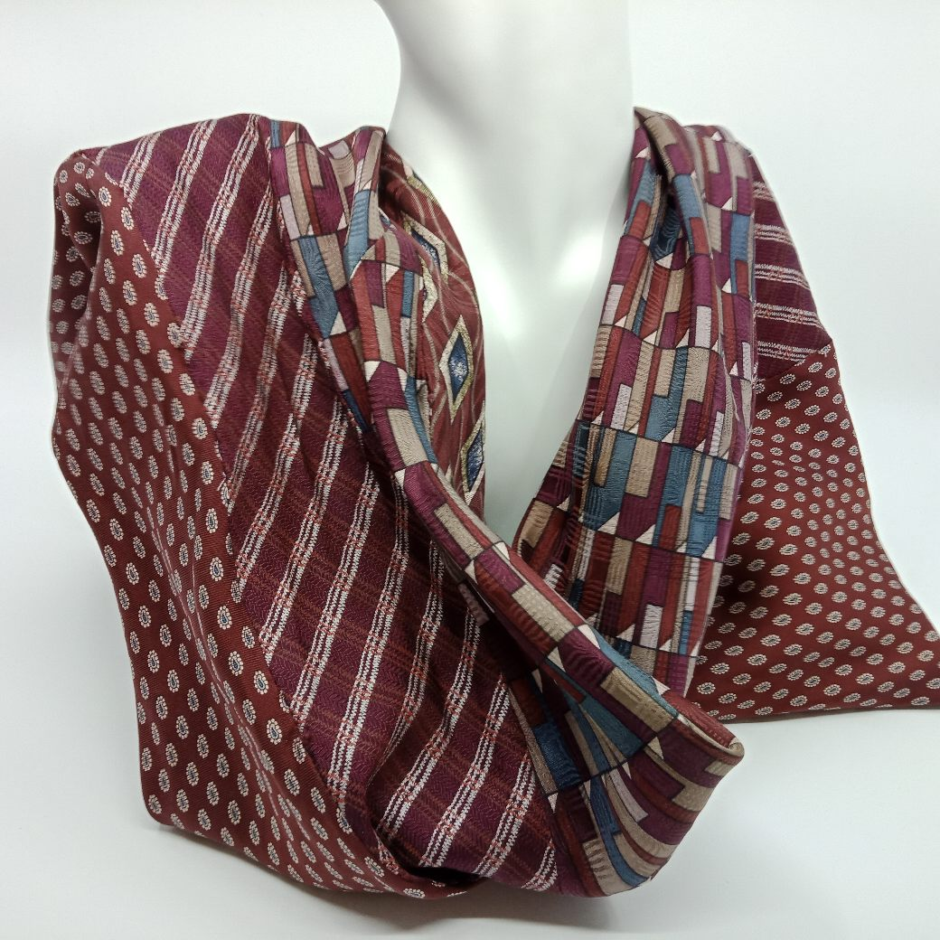 Maroon Silk Infinity Scarf By Judith Scott Upcycling
