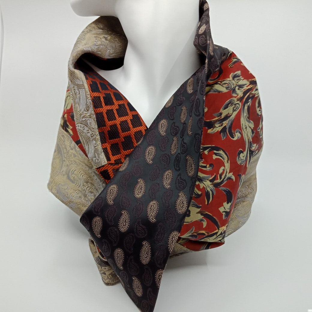 Winter Red, Stone And Brown Silk Button Scarf By Judith Scott Upcycling