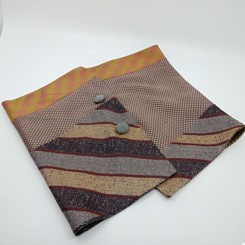 Chic Silk Button Scarf By Judith Scott Upcycling