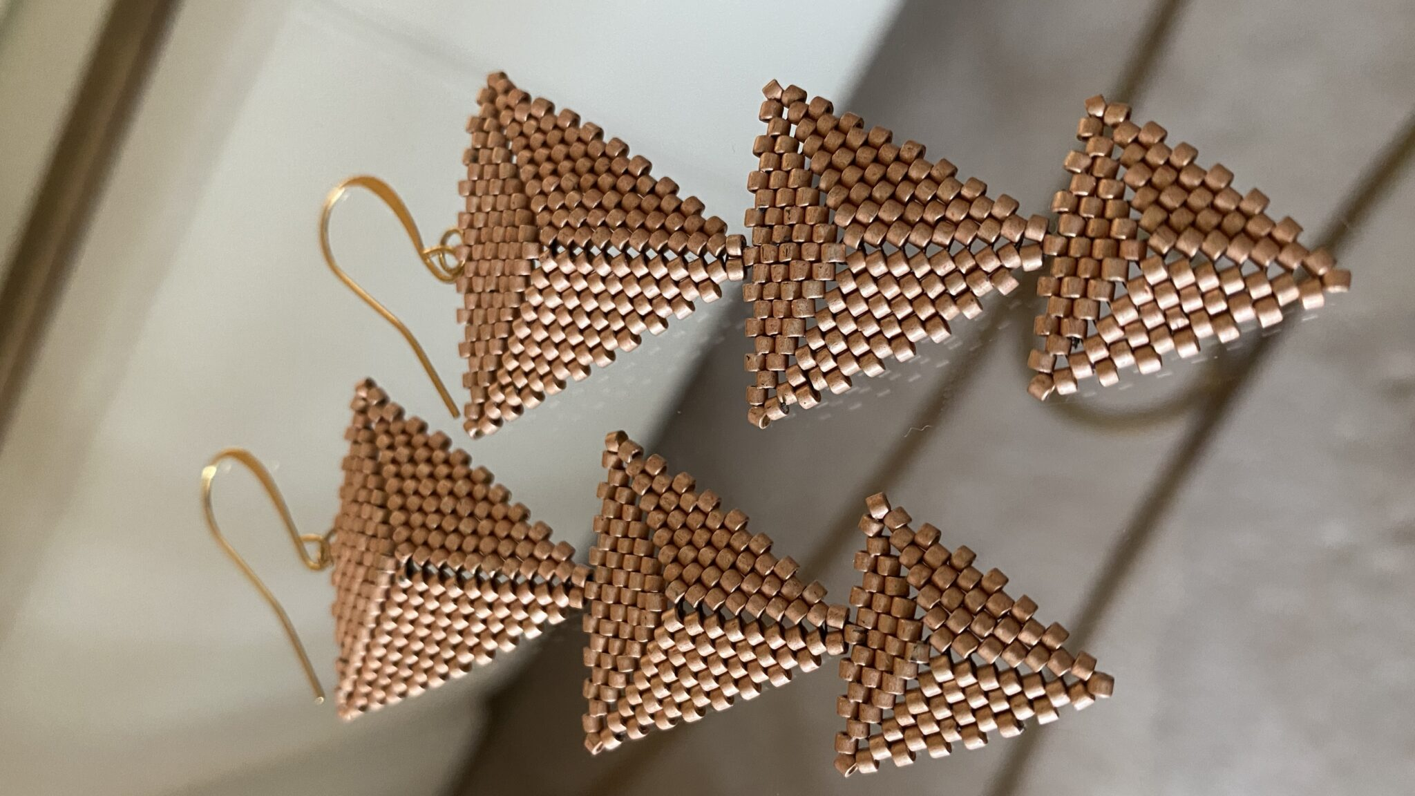 14k Rose Gold Japanese Seed Bead Earrings And Wires. Handwoven. COVET AND DESIRE