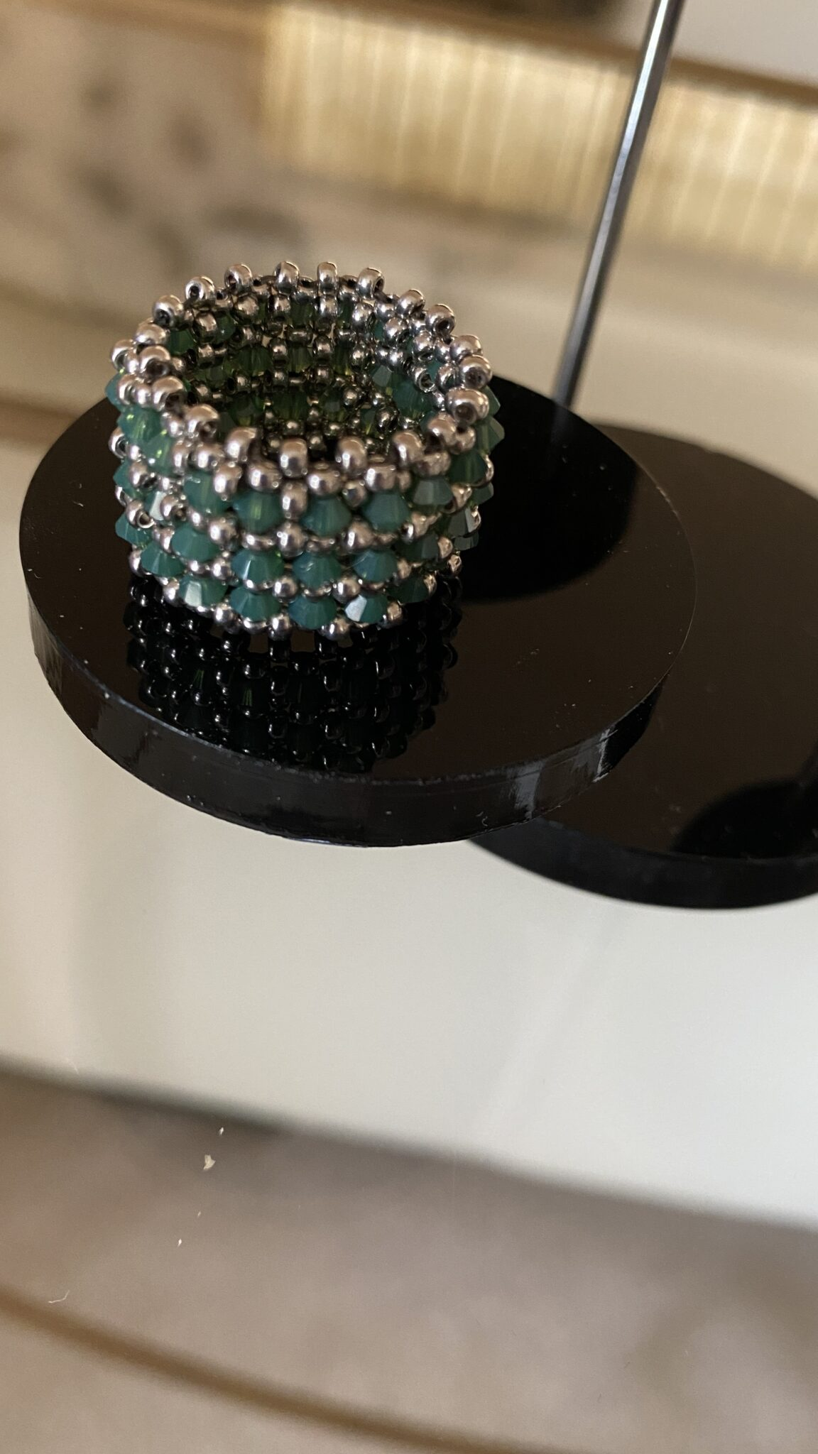 Palladium Japanese Seed Beads And Swarovski Crystals Handwoven Ring By Covet And Desire