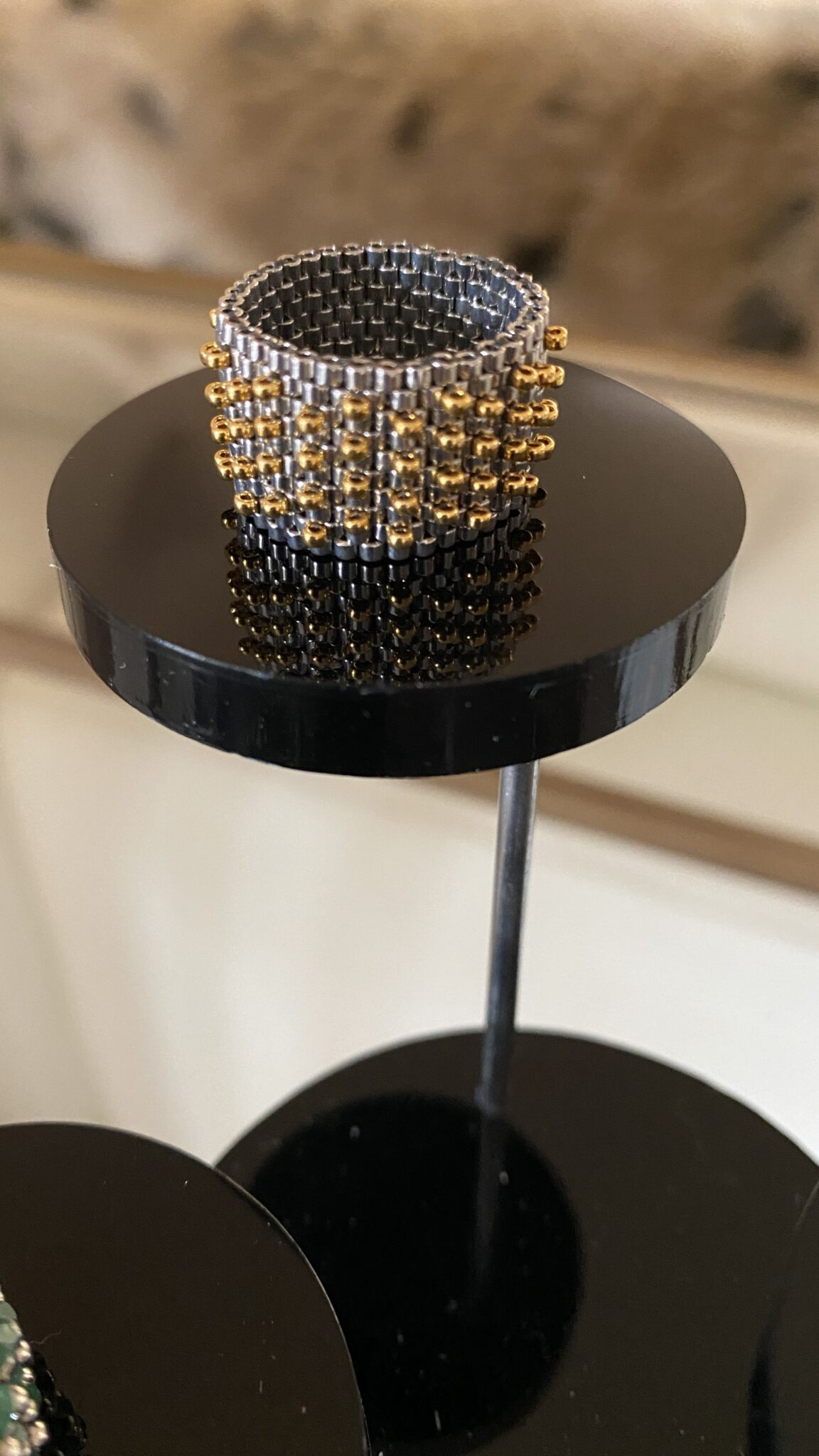 24k Gold Plated And Palladium Seed Bead Ring By Covet And Desire