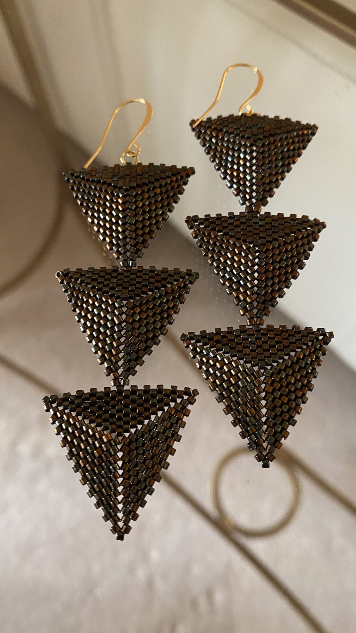 14k Gold Plated Wires Japanese Seed Bead Earrings And Wires. Handwoven. COVET AND DESIRE