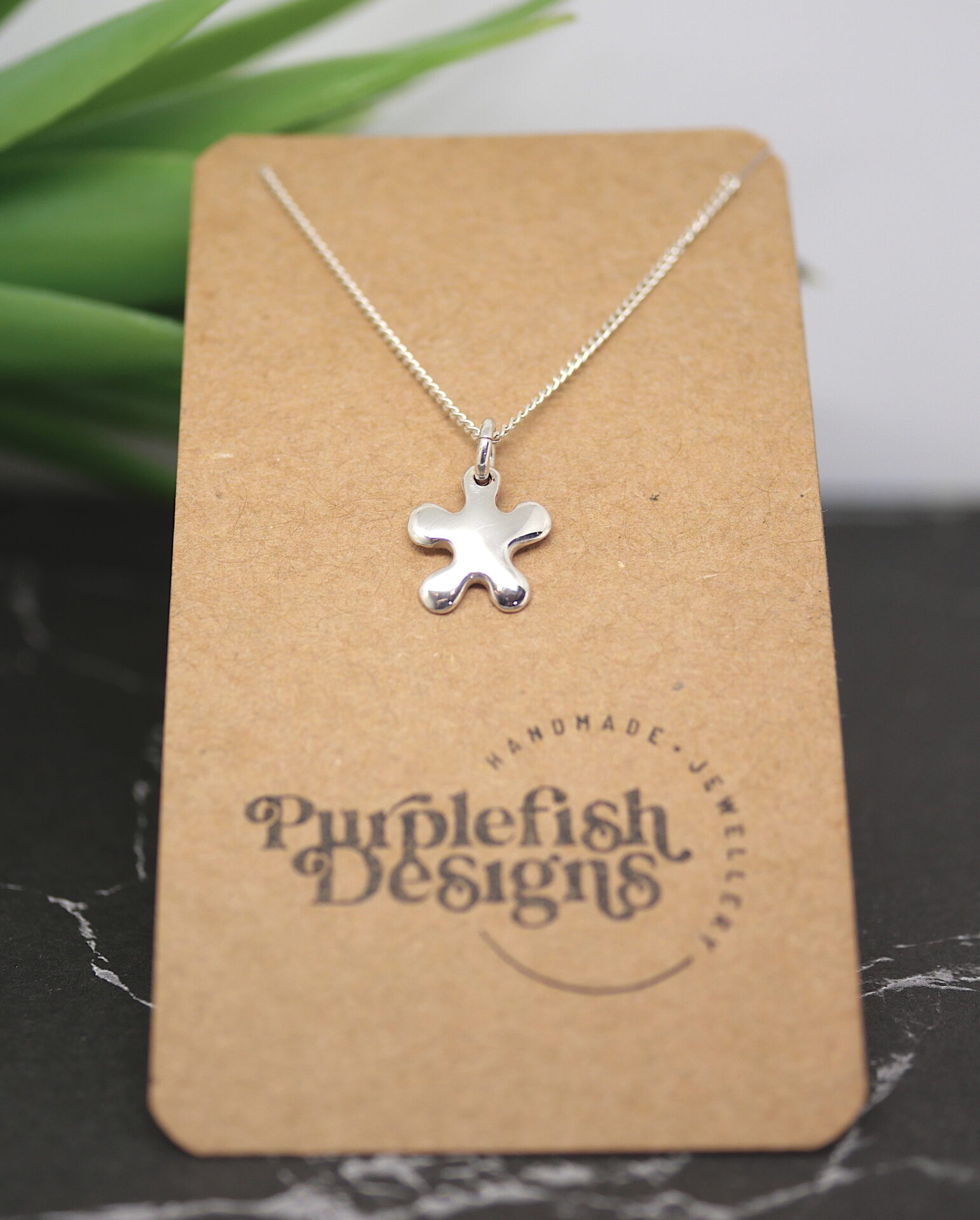 Tiny Splat – Handmade Solid Sterling Silver Pendant With Fine Chain By Purplefish Designs