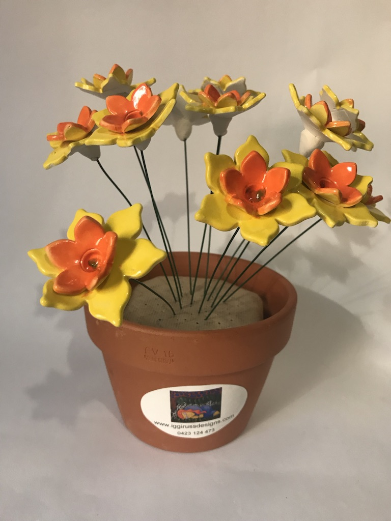 Ceramic Jonquil Flowers By Iggiruss Designs