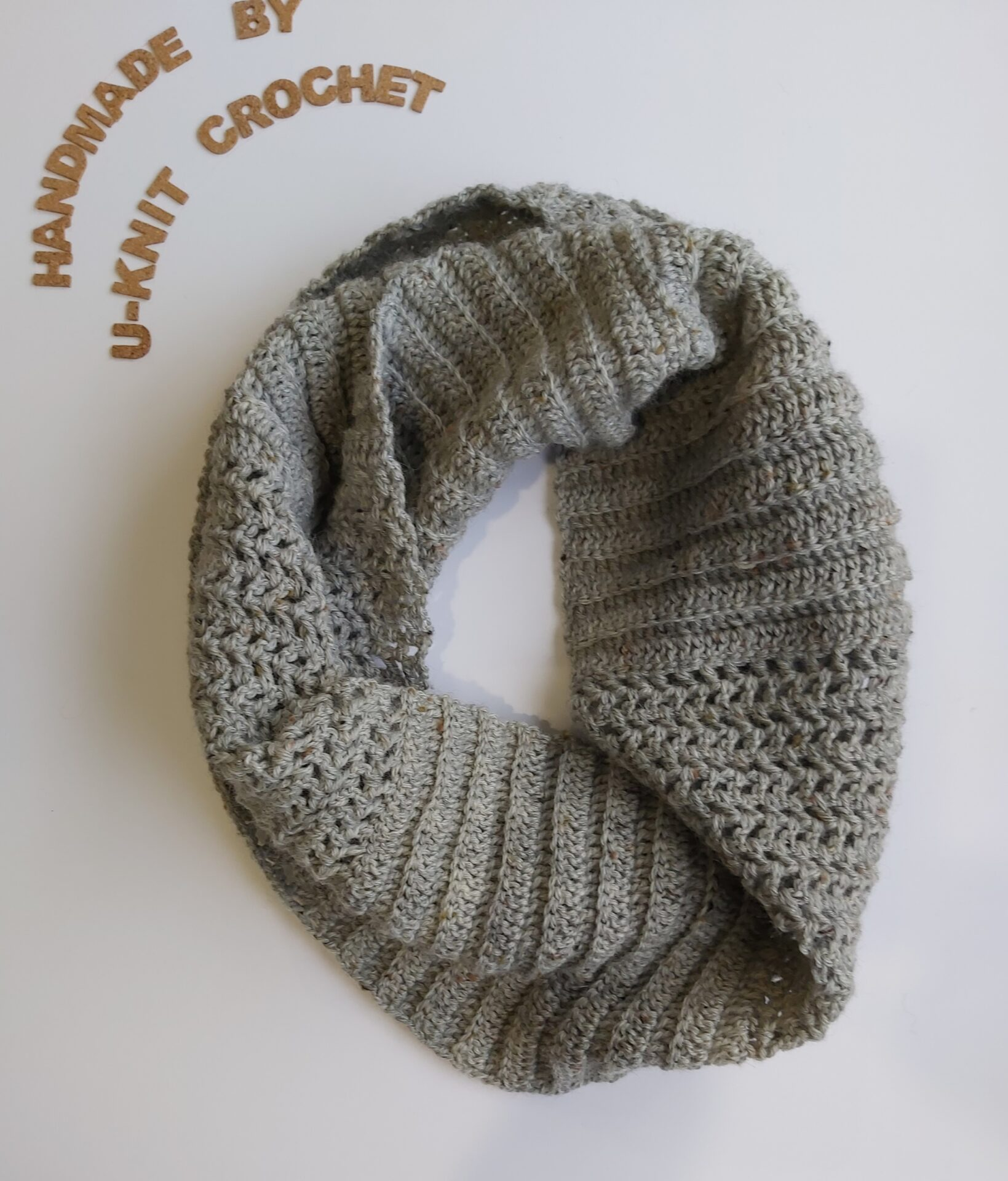 Grey Twist Cowl Handmade By U-Knit Crochet