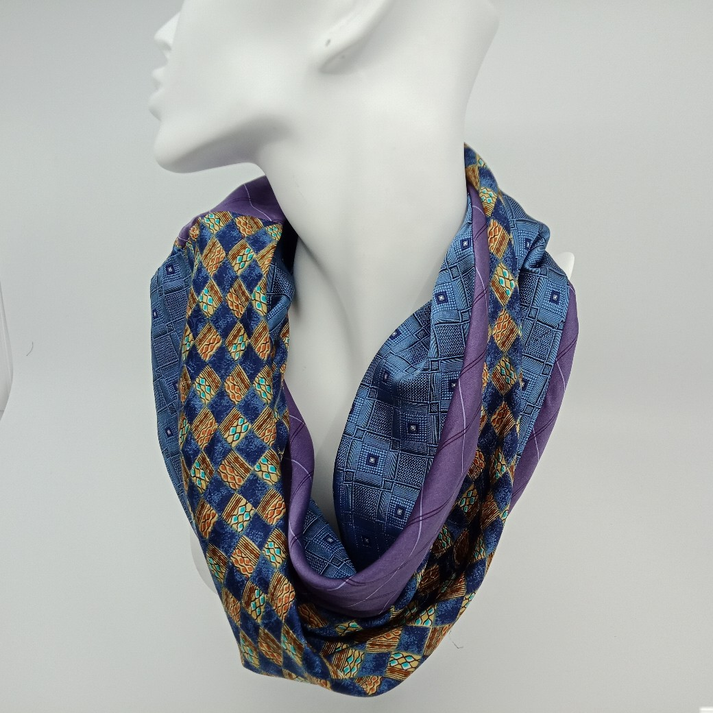 Blue, Mauve Checked Silk Scarf By Judith Scott Upcycling
