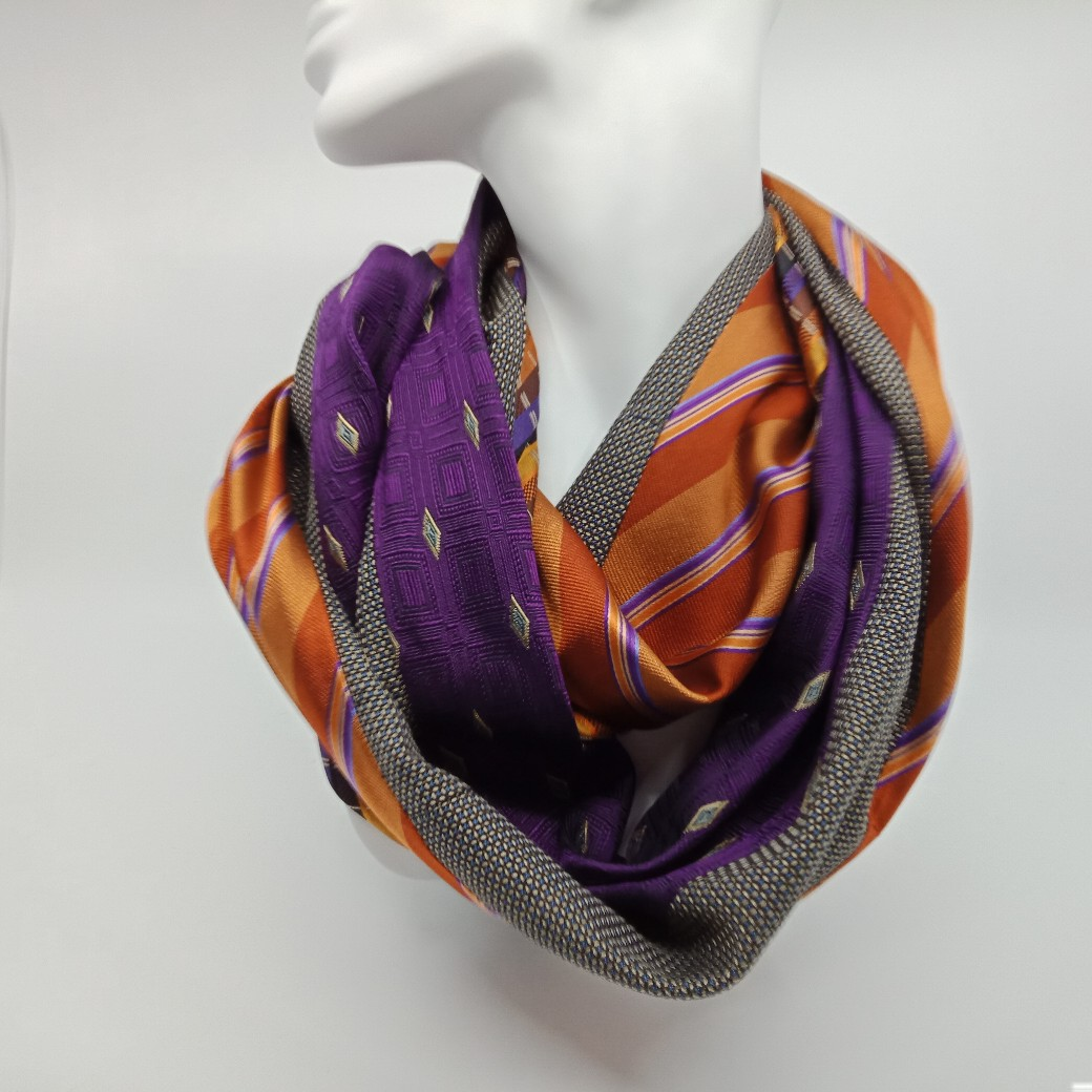 Tan, Orange, Purple Silk And Wool Scarf By Judith Scott Upcycling