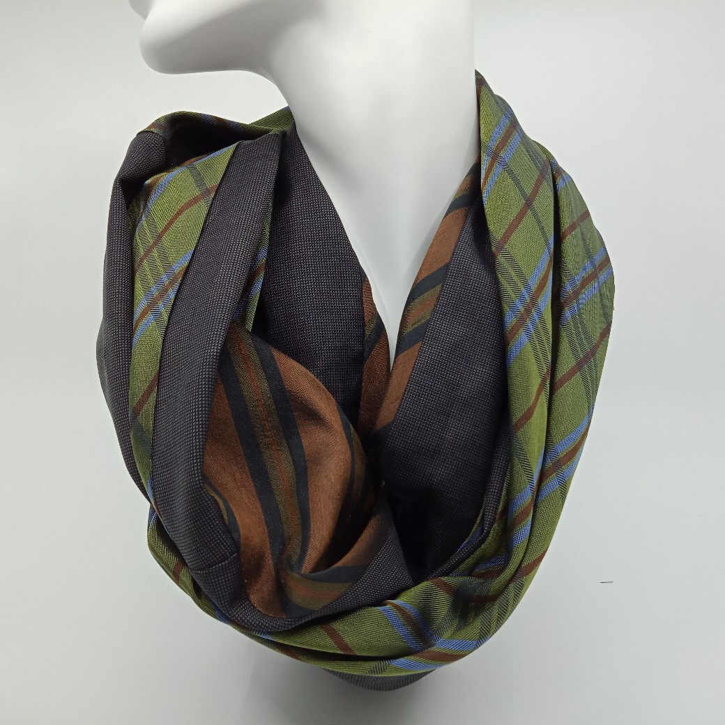 Winter Green And Brown Silk And Wool Scarf By Judith Scott Upcycling