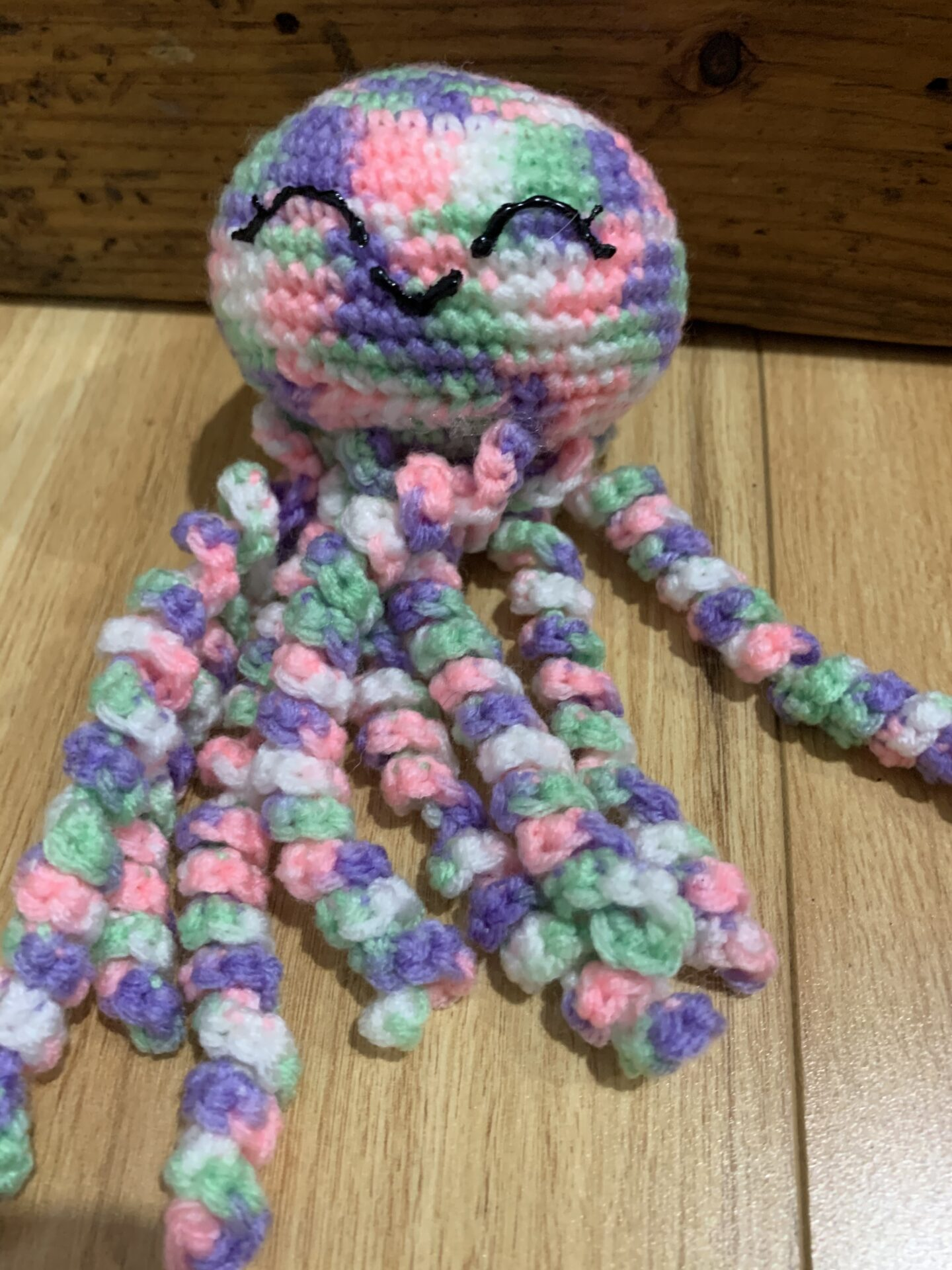 Crochet Octopus Pink/purple/green/white Multi By Ernie Spackler