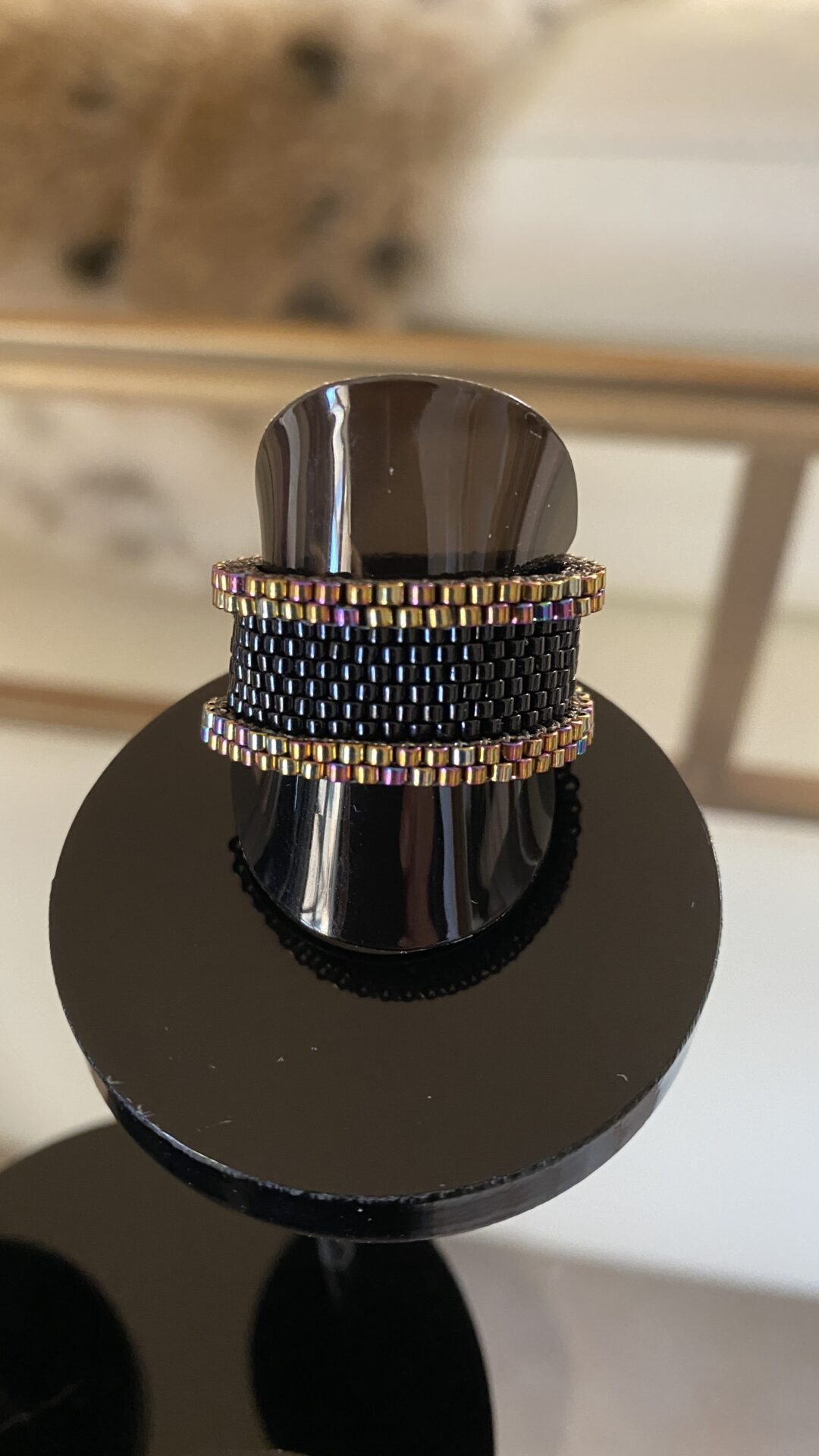 Japanese Seed Bead Handwoven Ring 24k Gold Plated Accents In Dark Iris Size US 10.5 By Covet And Desire