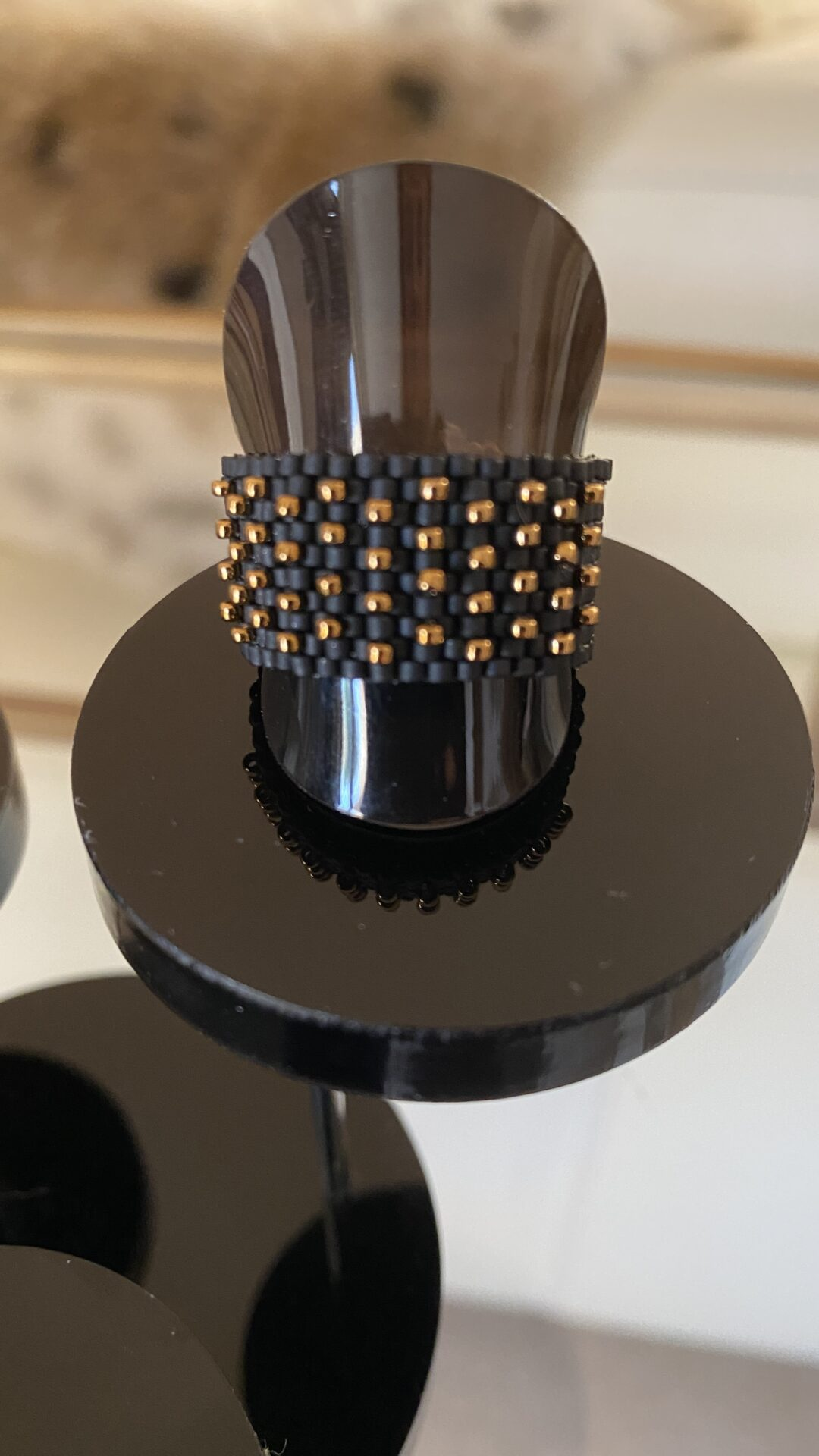Japanese Seed Bead Handwoven Ring Black And Rose Gold Accents Size US 9 By Covet And Desire