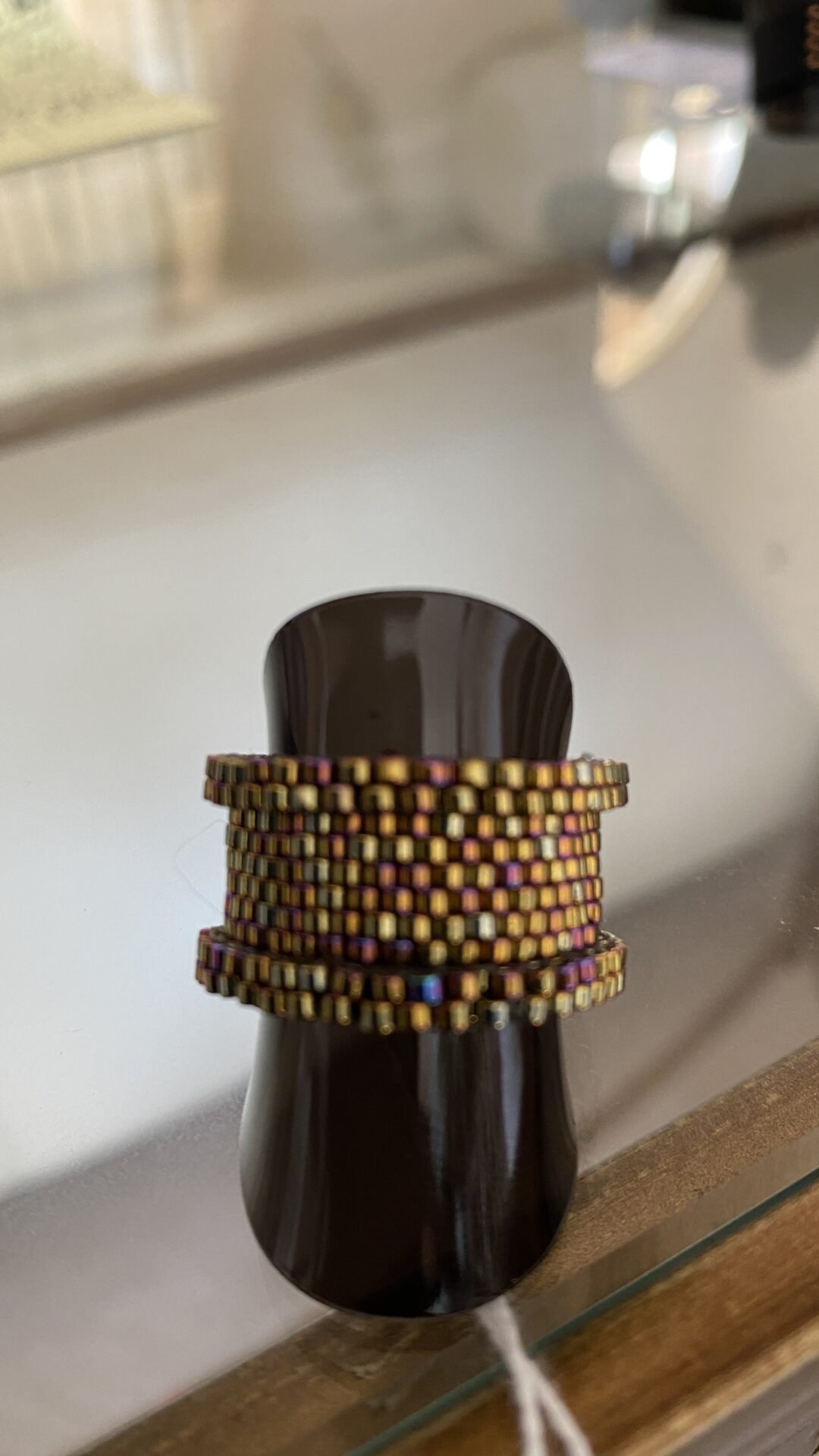 Japanese Seed Bead Handwoven Ring 24k Gold Plated And Palladium In Dark Iris Size US 8 By Covet And Desire
