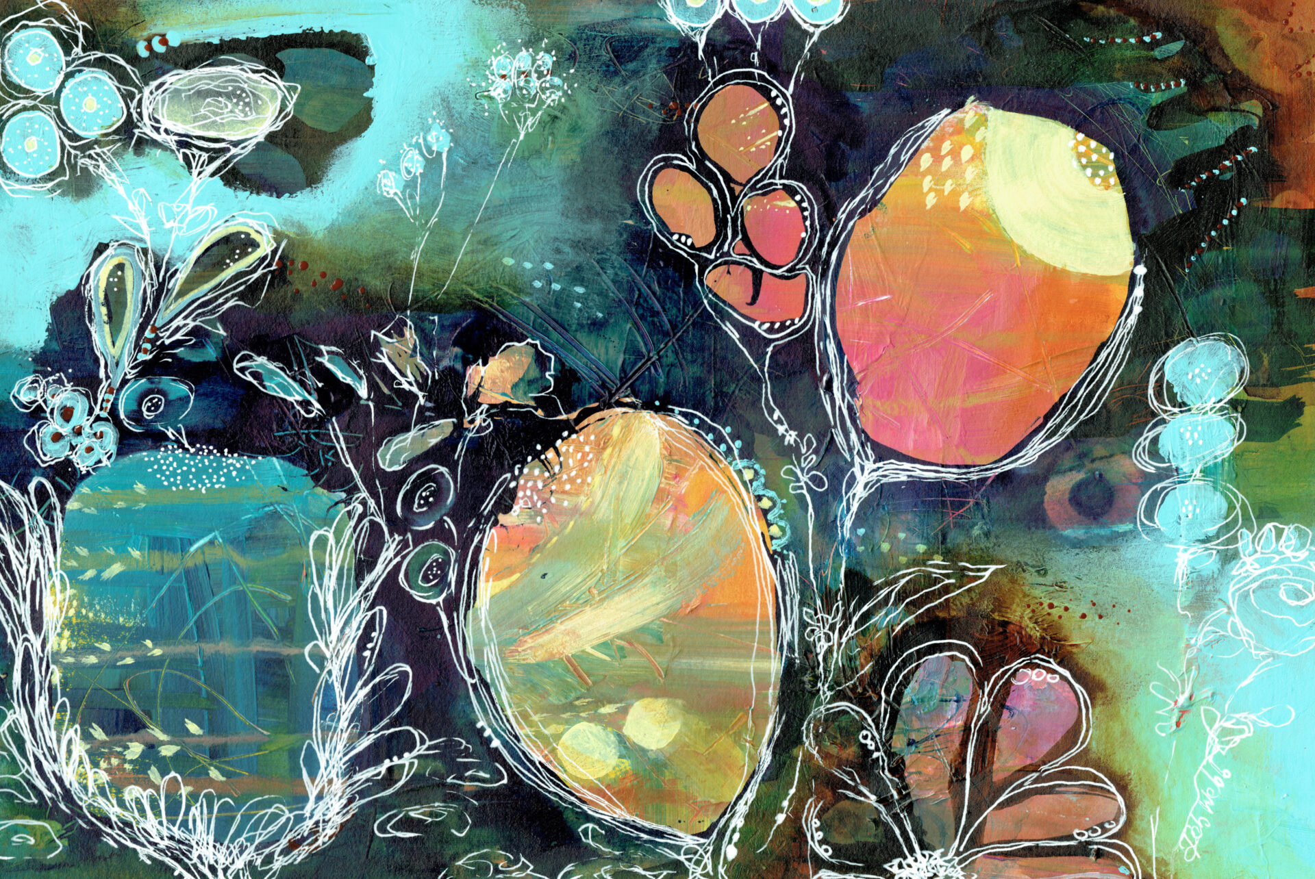 Flowers Of The Night By Deb Webb Showing In Works On Paper