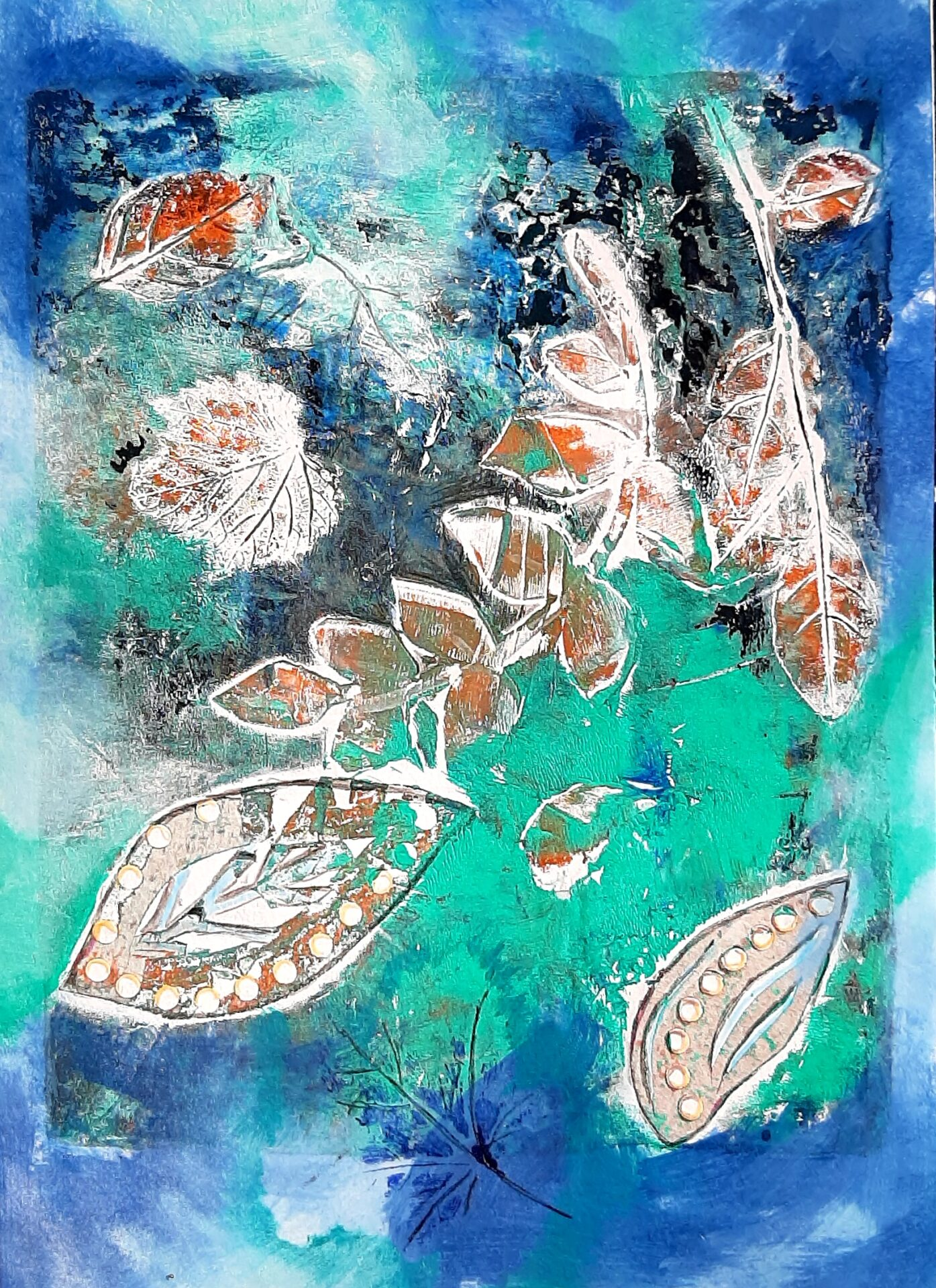 Aqua Paisley By Lili Eggleston Showing In Works On Paper