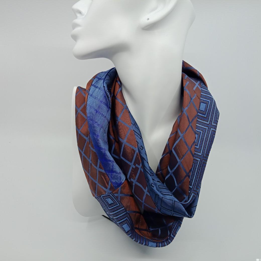 Simply Elegant Tan And Blue Silk Scarf By Judith Scott Upcycling