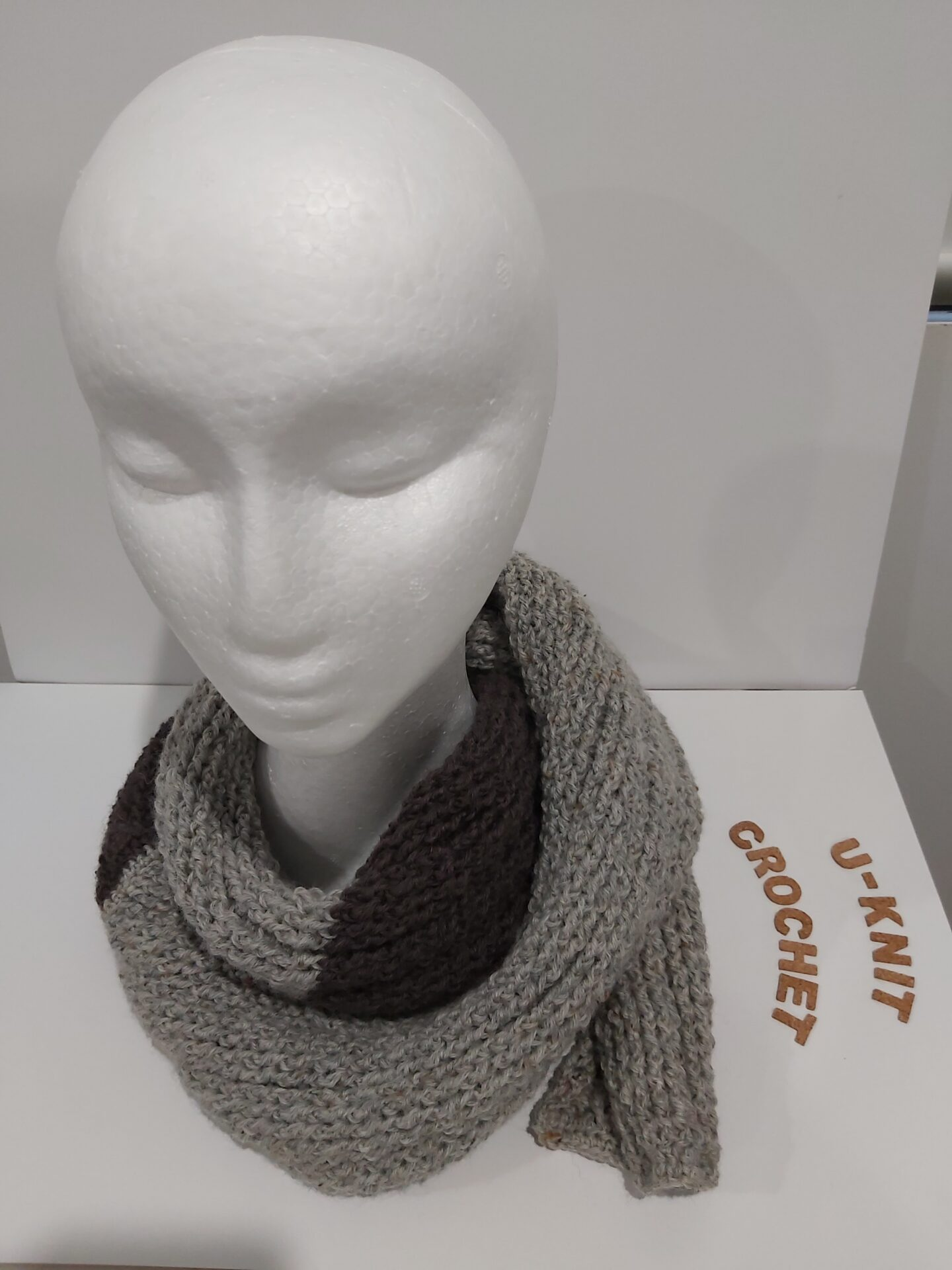 Grey/Walnut Ribbed Scarf Handmade By U-Knit Crochet