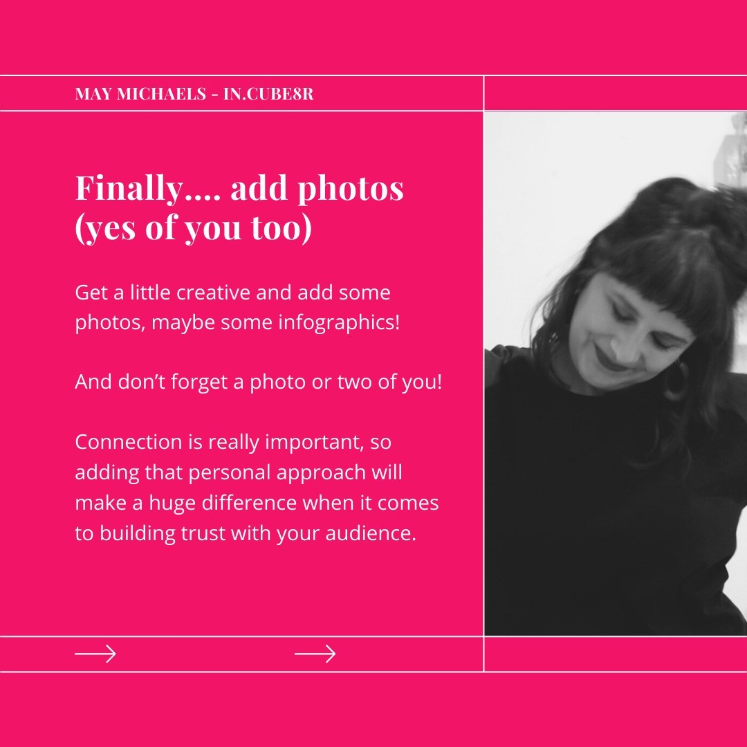 Make sure to include photos of you and your products when writing your about us page