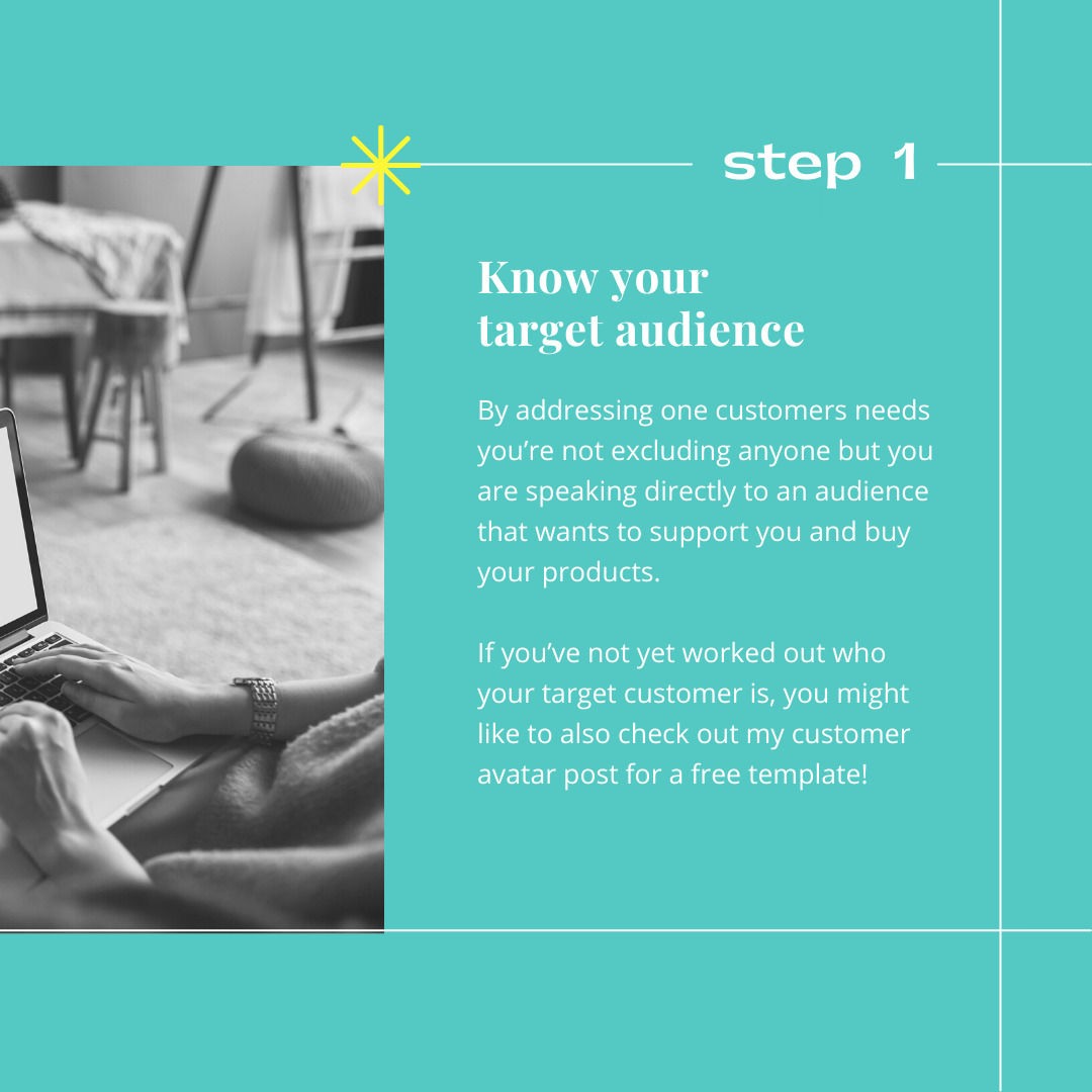 Before you write an ABOUT US page for your handmade brand you need to know your target audience!