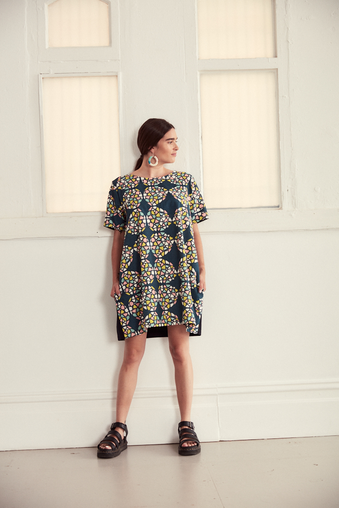 "Linen/Cotton Cocoon Style Dress In ""Kaleidoscope"" Print By Ana Williams"