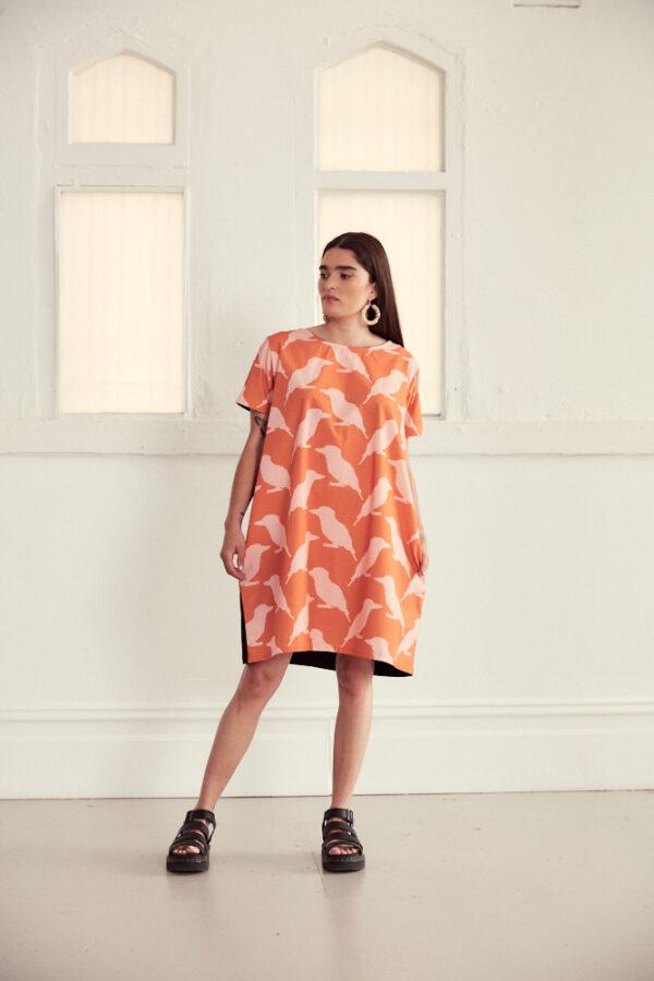 vibrant-orange-cotton-cocoon-style-dress-in-kookaburra-print-by-ana-williams-by-anawilliamspatterns