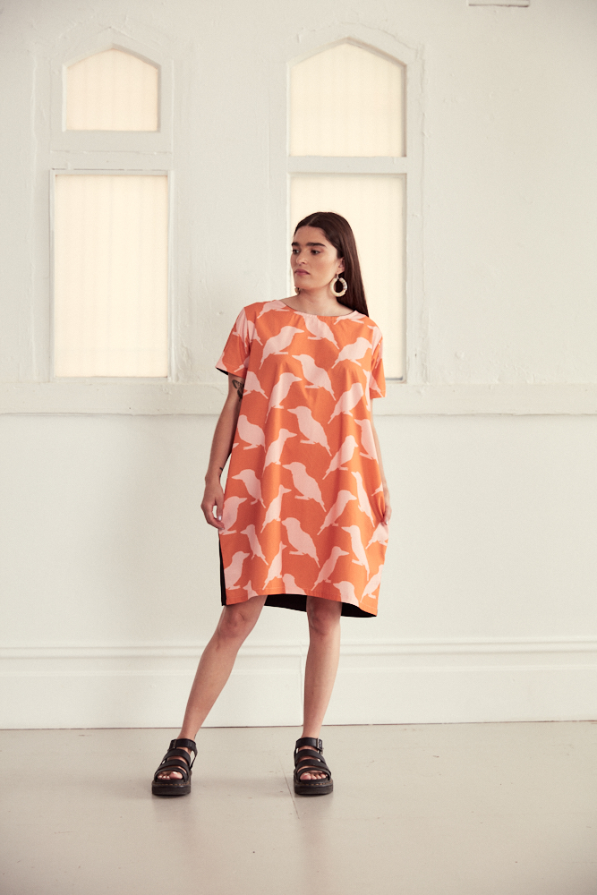 "Vibrant Orange/Pink Cotton Cocoon Style Dress In ""Kookaburra"" Print By Ana Williams"